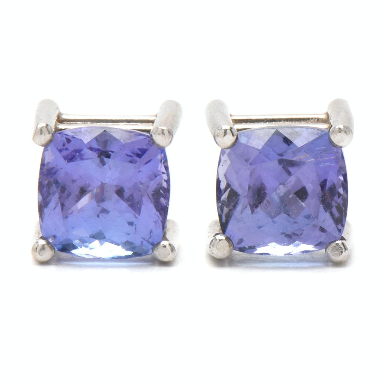 14K White Gold Tanzanite Pierced Earrings