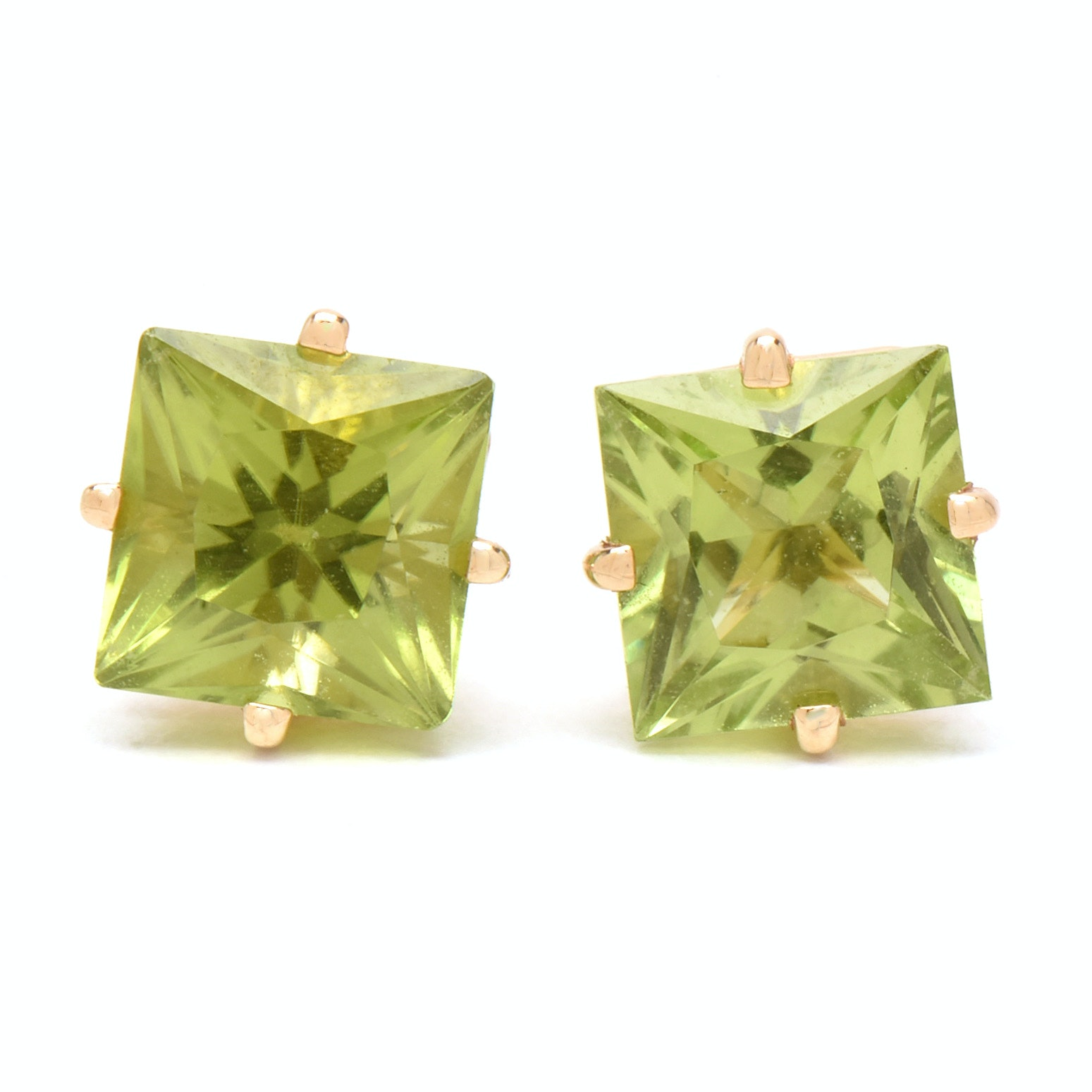 14K Yellow Gold Peridot Pierced Earrings