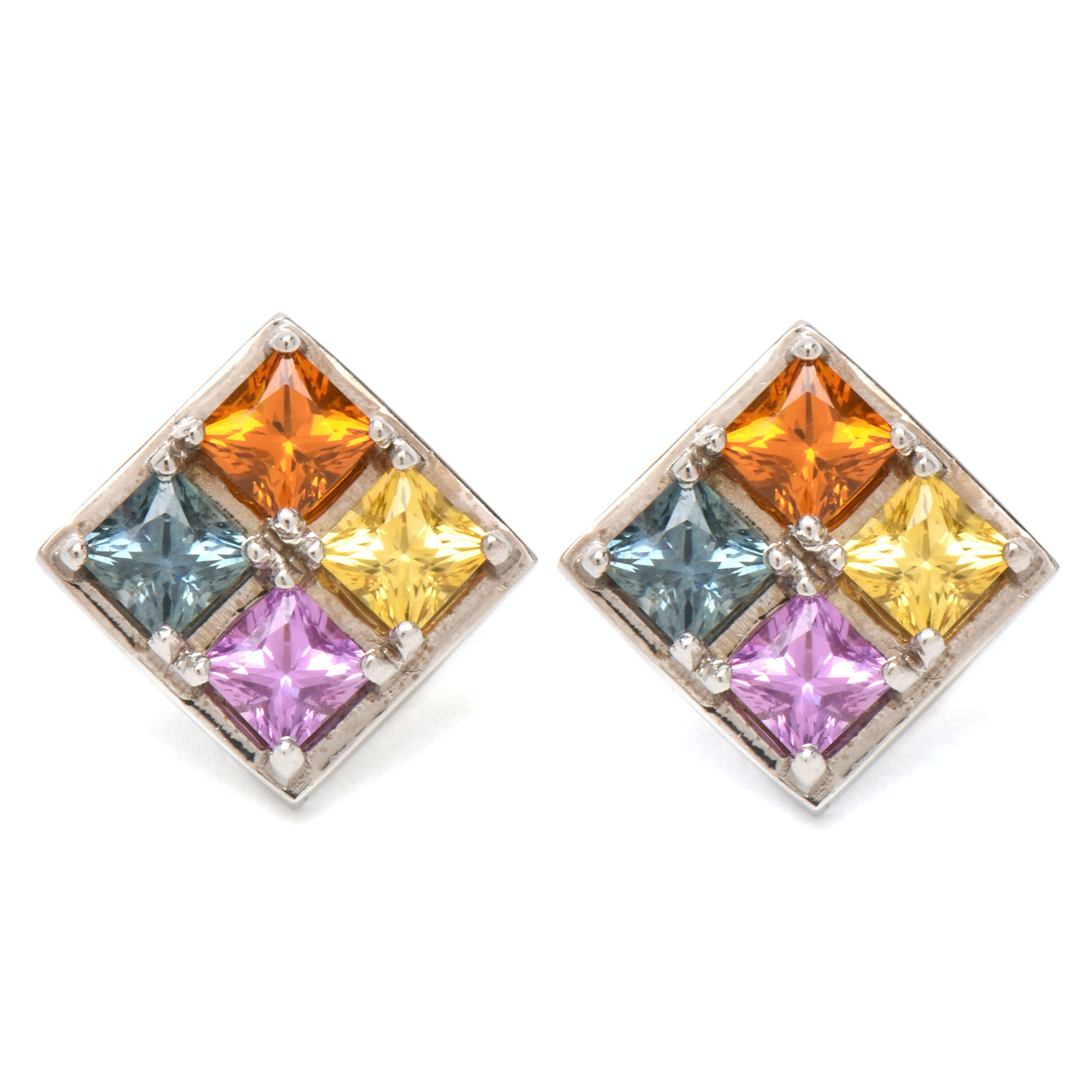 14K White Gold Blue, Pink, Yellow and Orange Sapphires Earrings