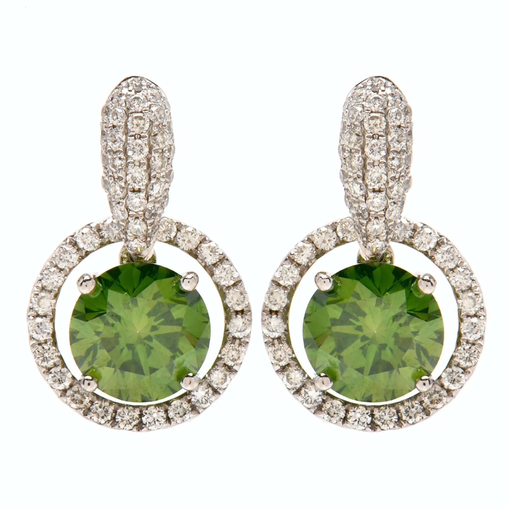 14K White Gold 3.25 CTW Green Color Treated Diamond Pierced Earrings