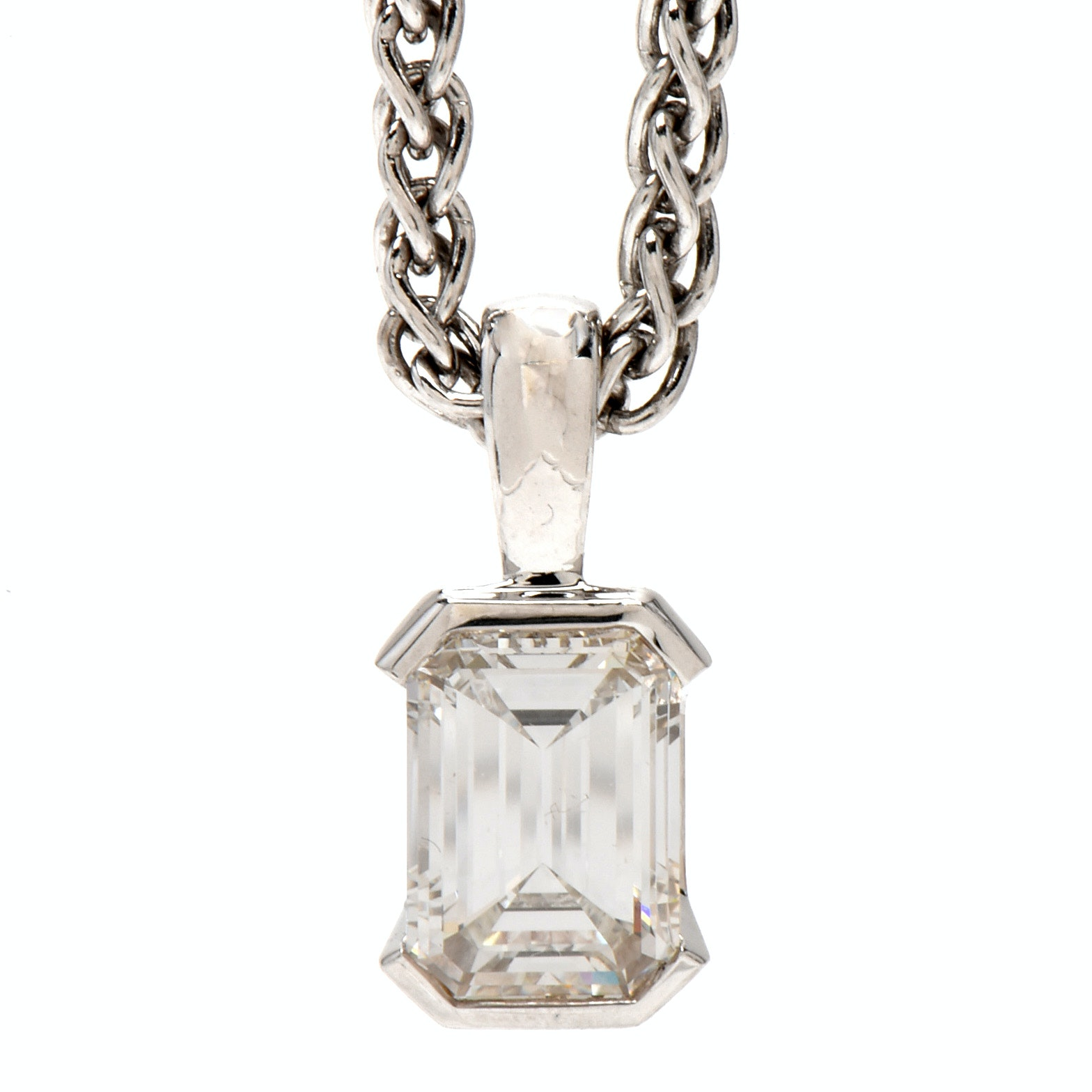 14K White Gold 2.20 CT Emerald Cut Diamond Drop Pendant Necklace