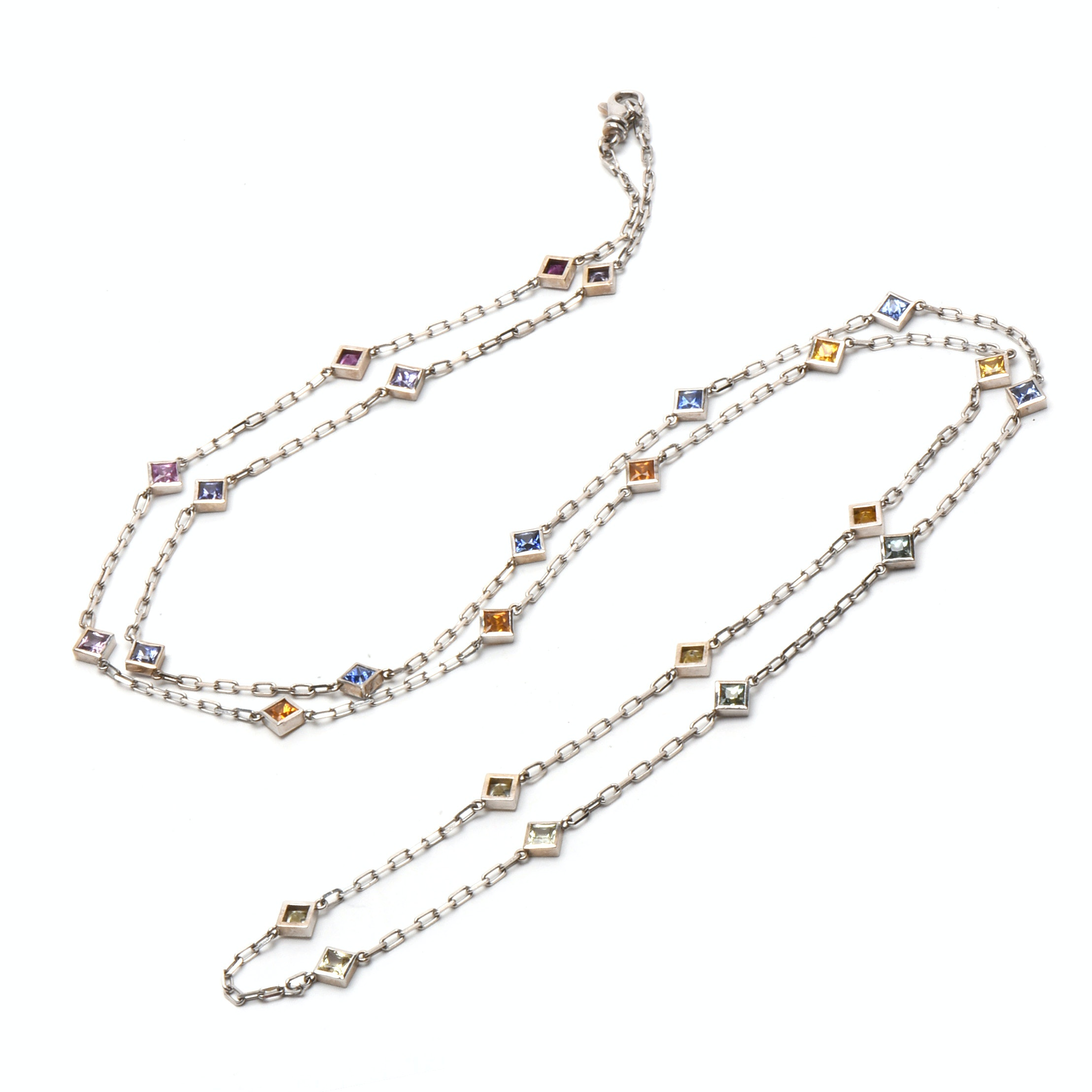 "Italian Herco 14K White Gold ""By the Inch"" Fancy Color Sapphire Necklace"
