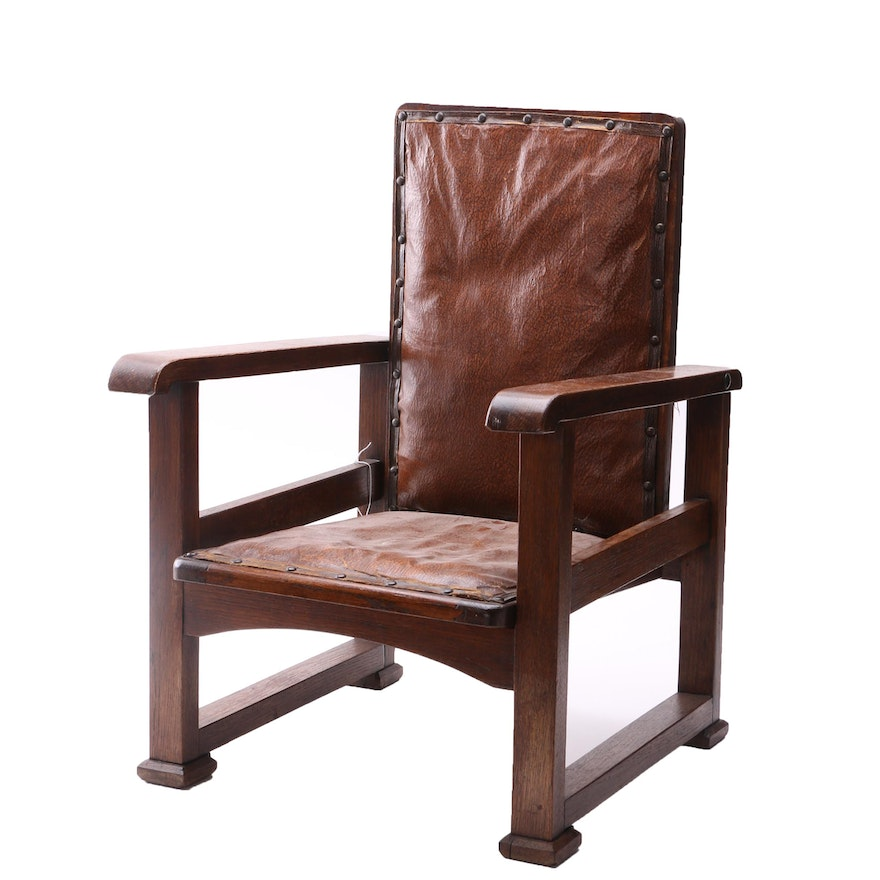 Outstanding Vintage Arts And Crafts Style Oak Adjustable Childrens Morris Chair Gamerscity Chair Design For Home Gamerscityorg