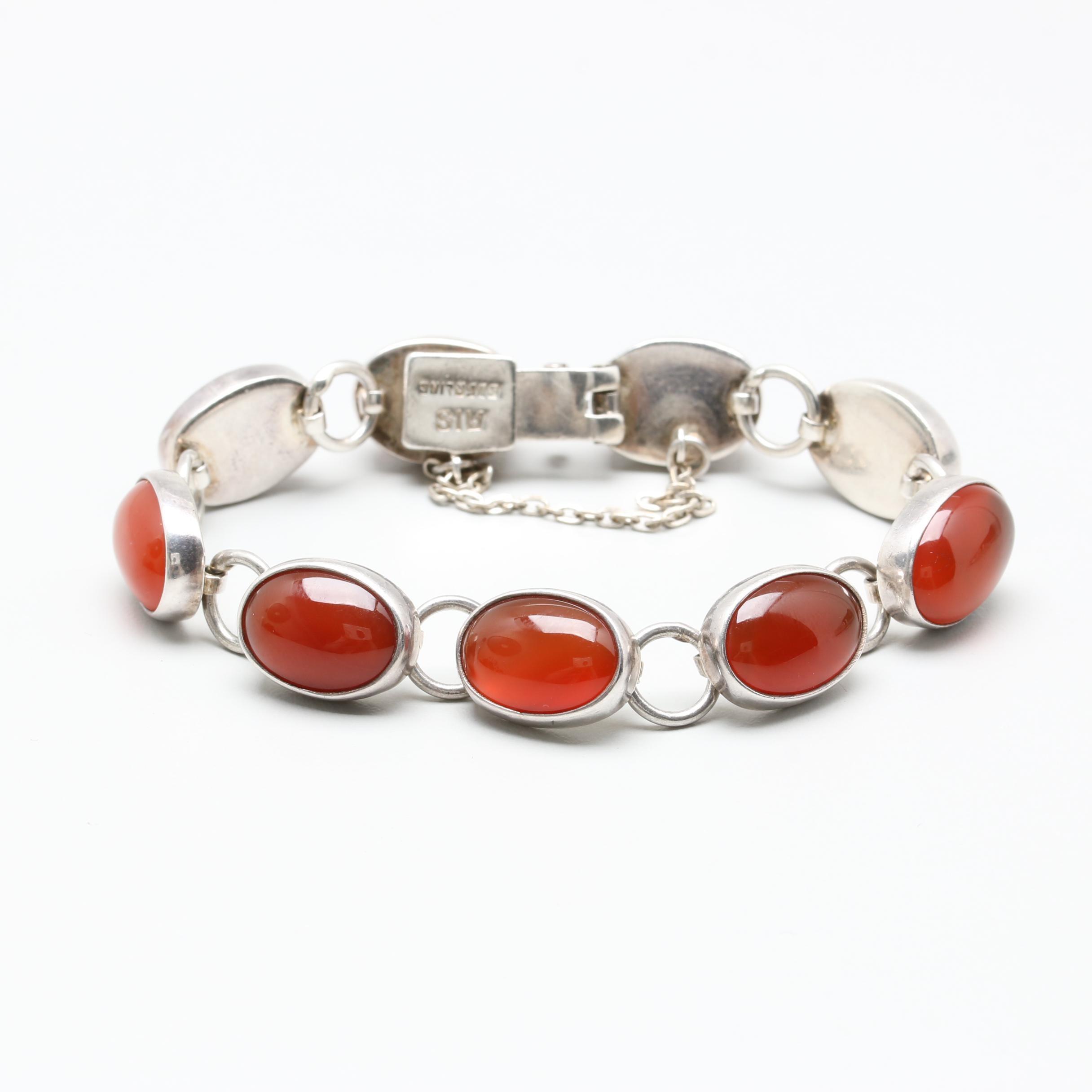 Sterling Silver Carnelian Link Bracelet