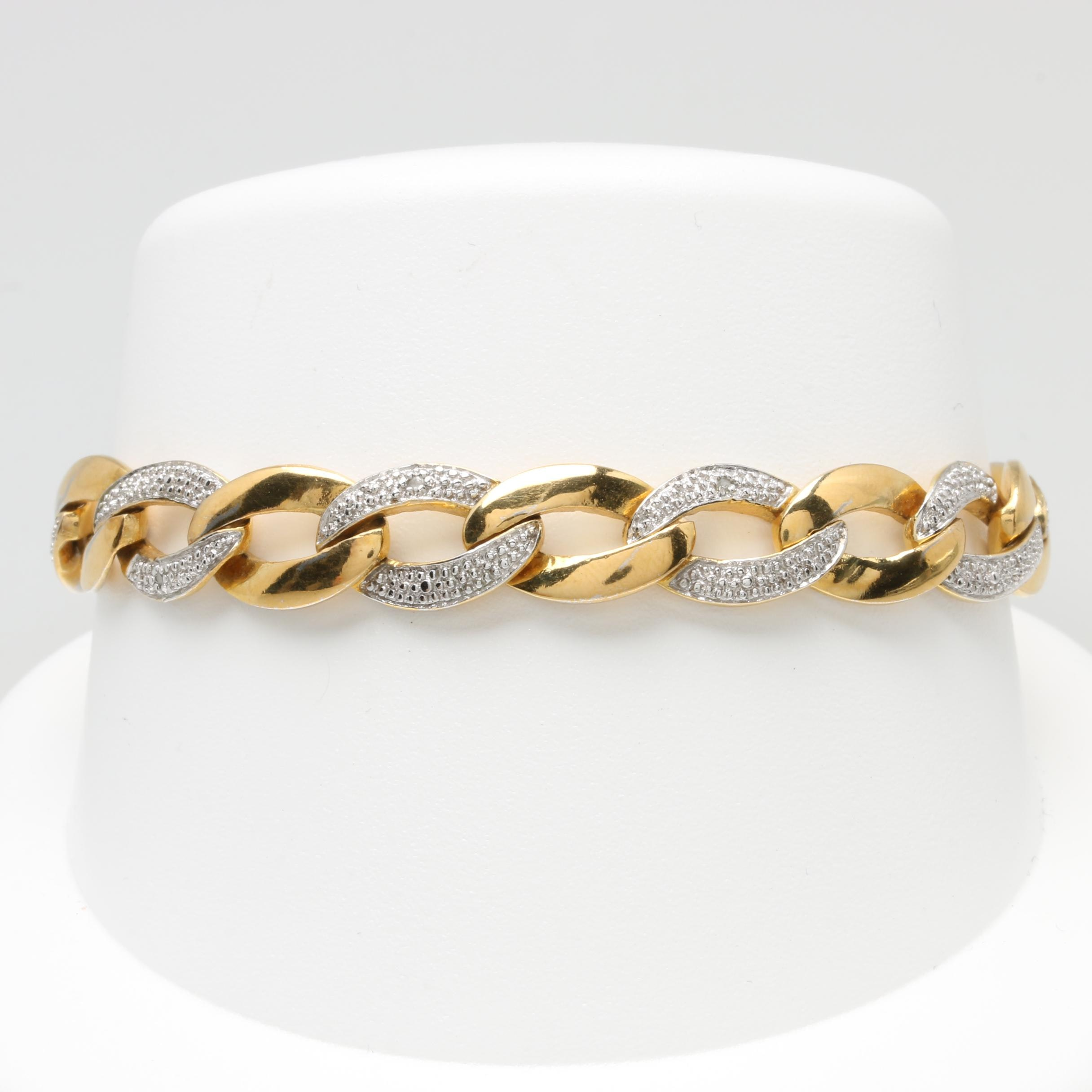 Gold Wash on Sterling Silver Diamond Link Bracelet