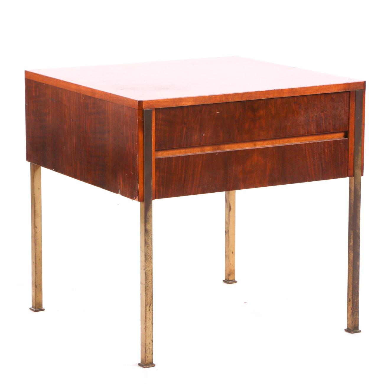 Vintage Walnut End Table on Brass Legs