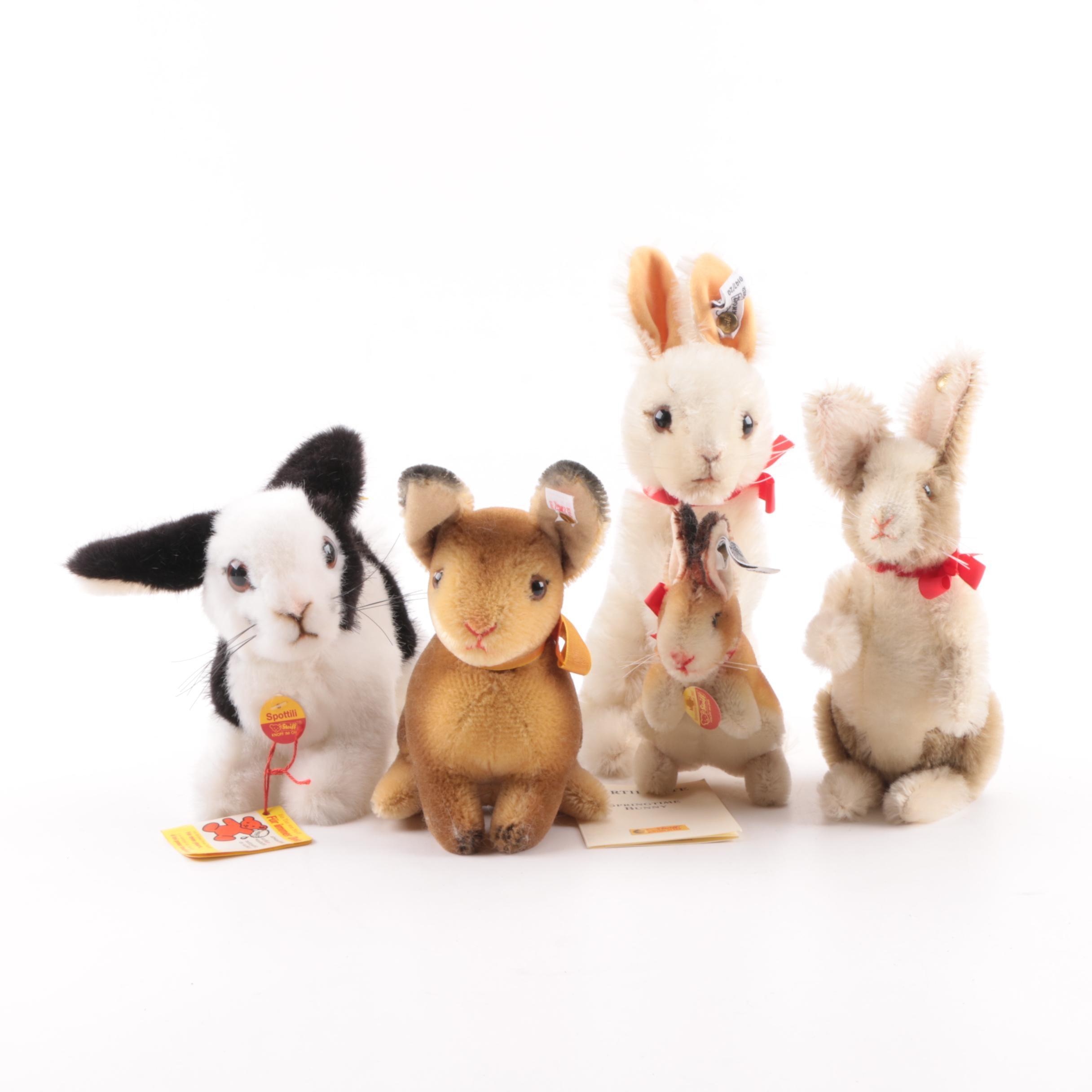"1980-90s Steiff Plush Mohair Rabbits including ""Spottili"""