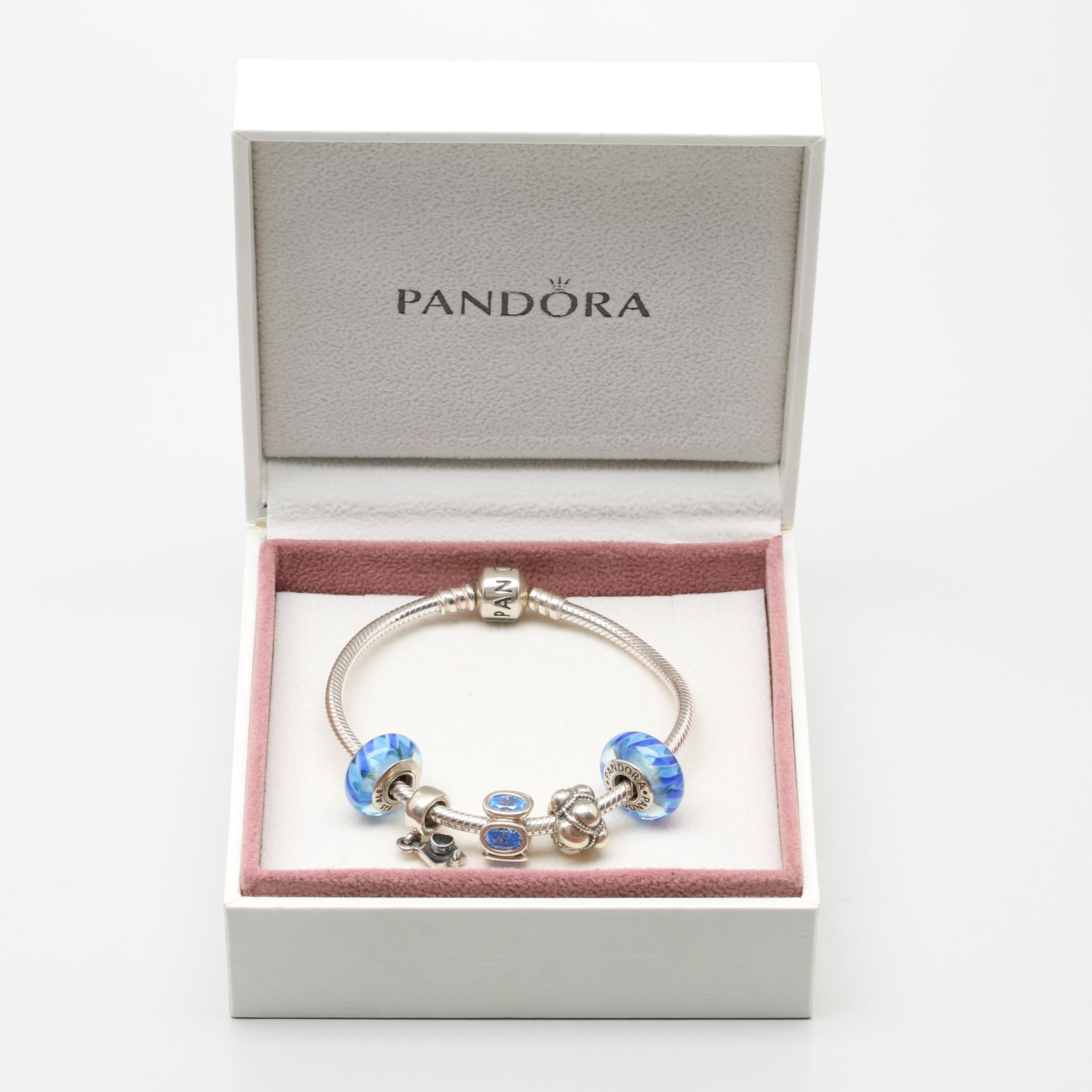 Pandora Sterling Silver Cubic Zirconia and Glass Charm Bracelet with Box