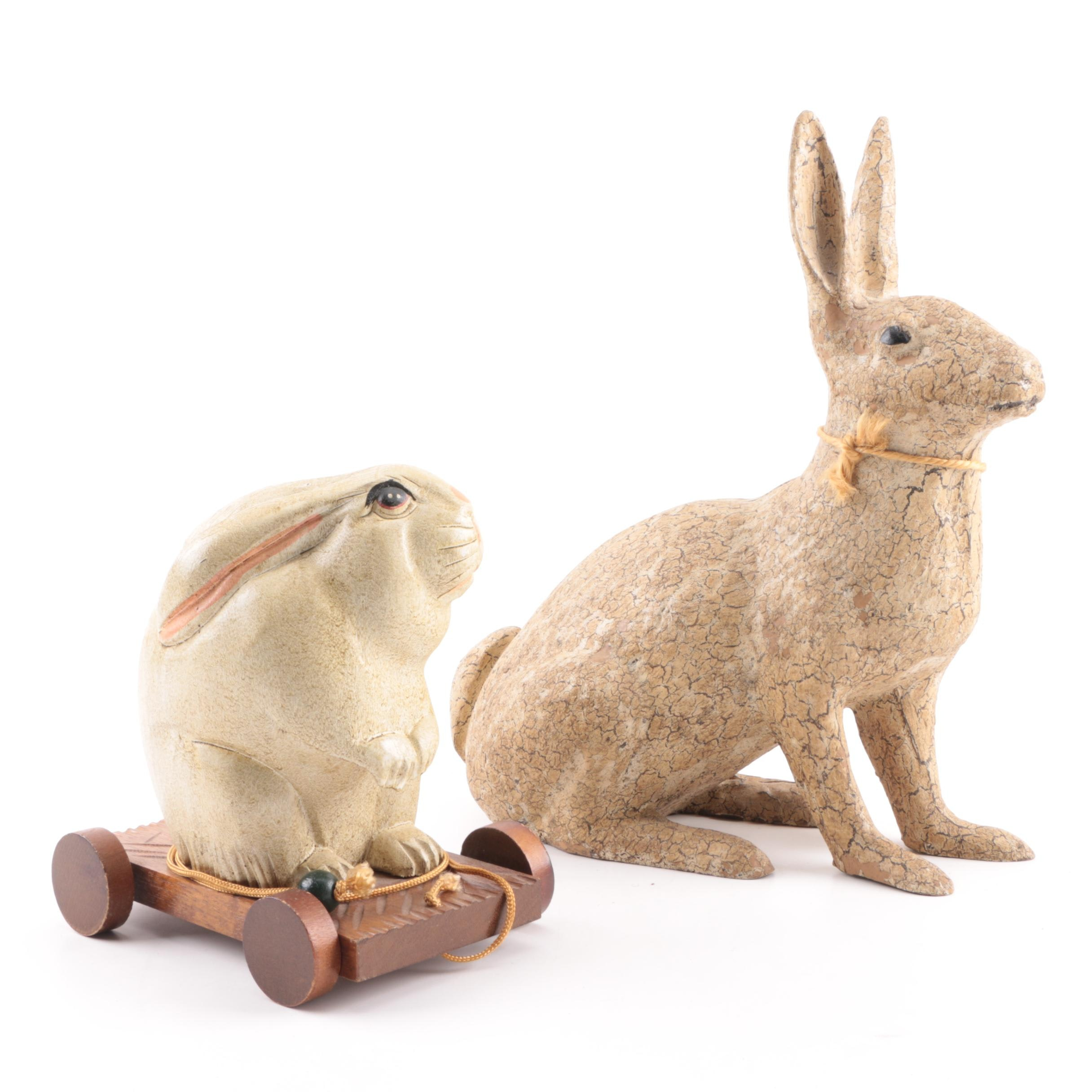 Resin and Wood Rabbit Figurines