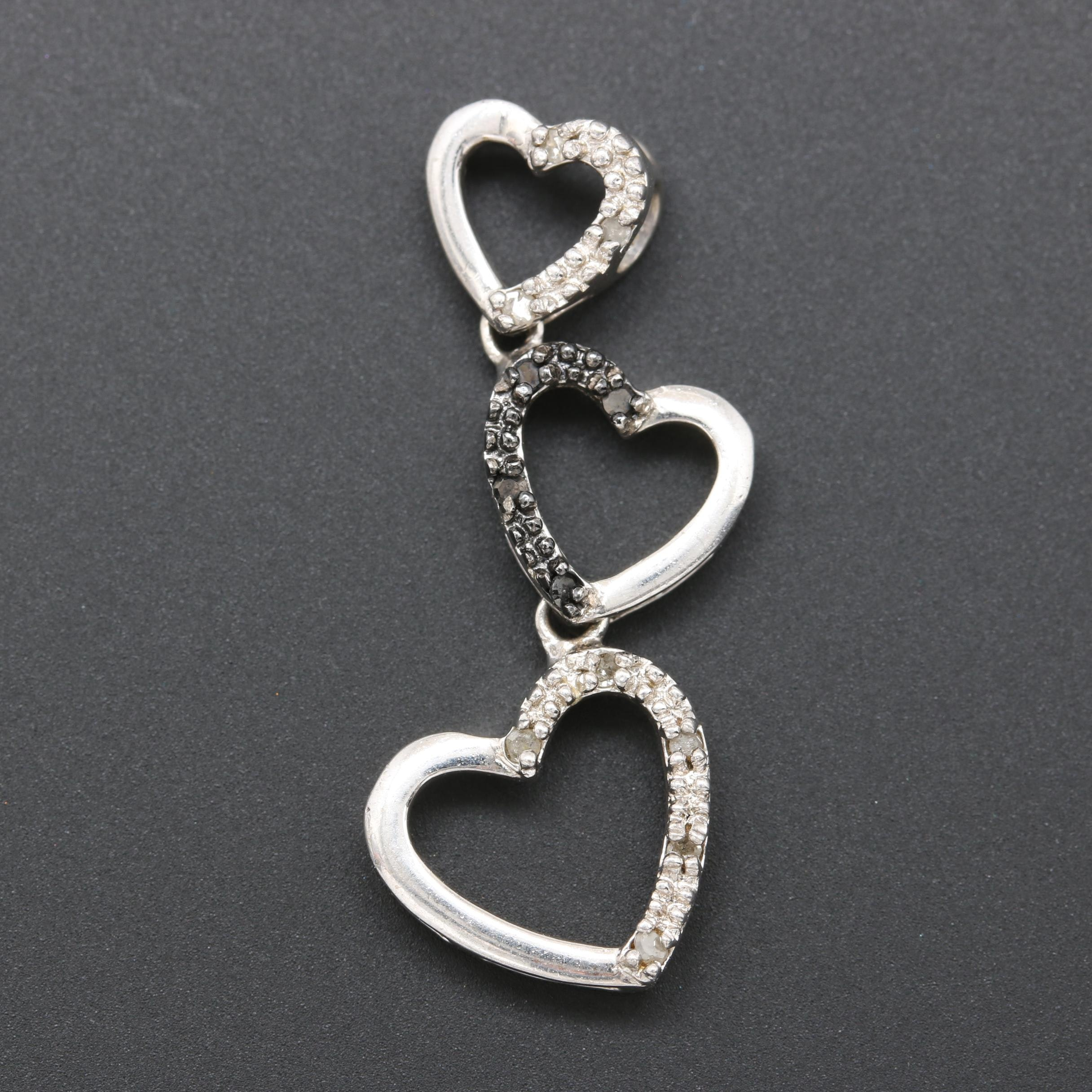 Sterling Silver Diamond Graduated Heart Pendant
