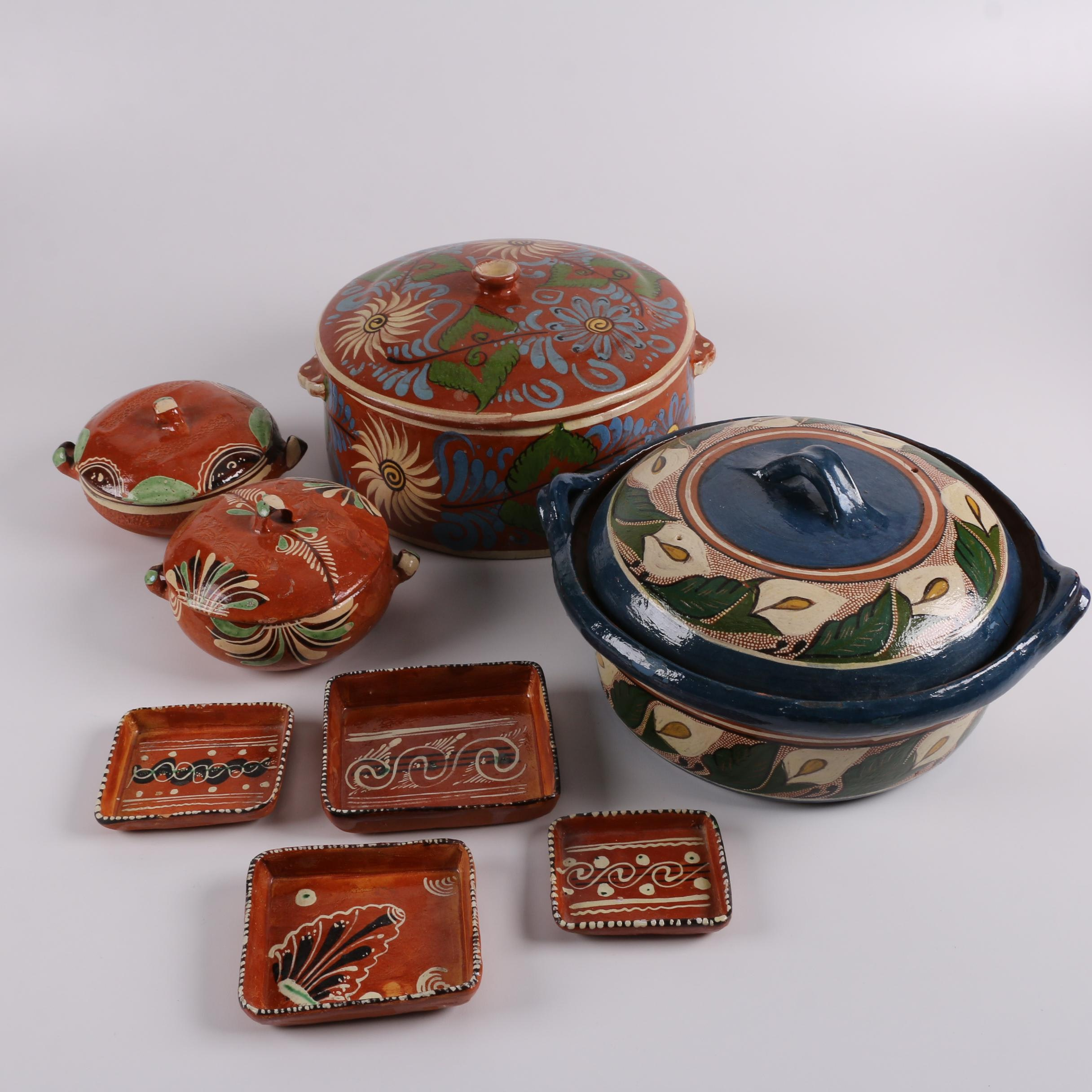 Vintage Mexican Redware Bakeware and Serveware