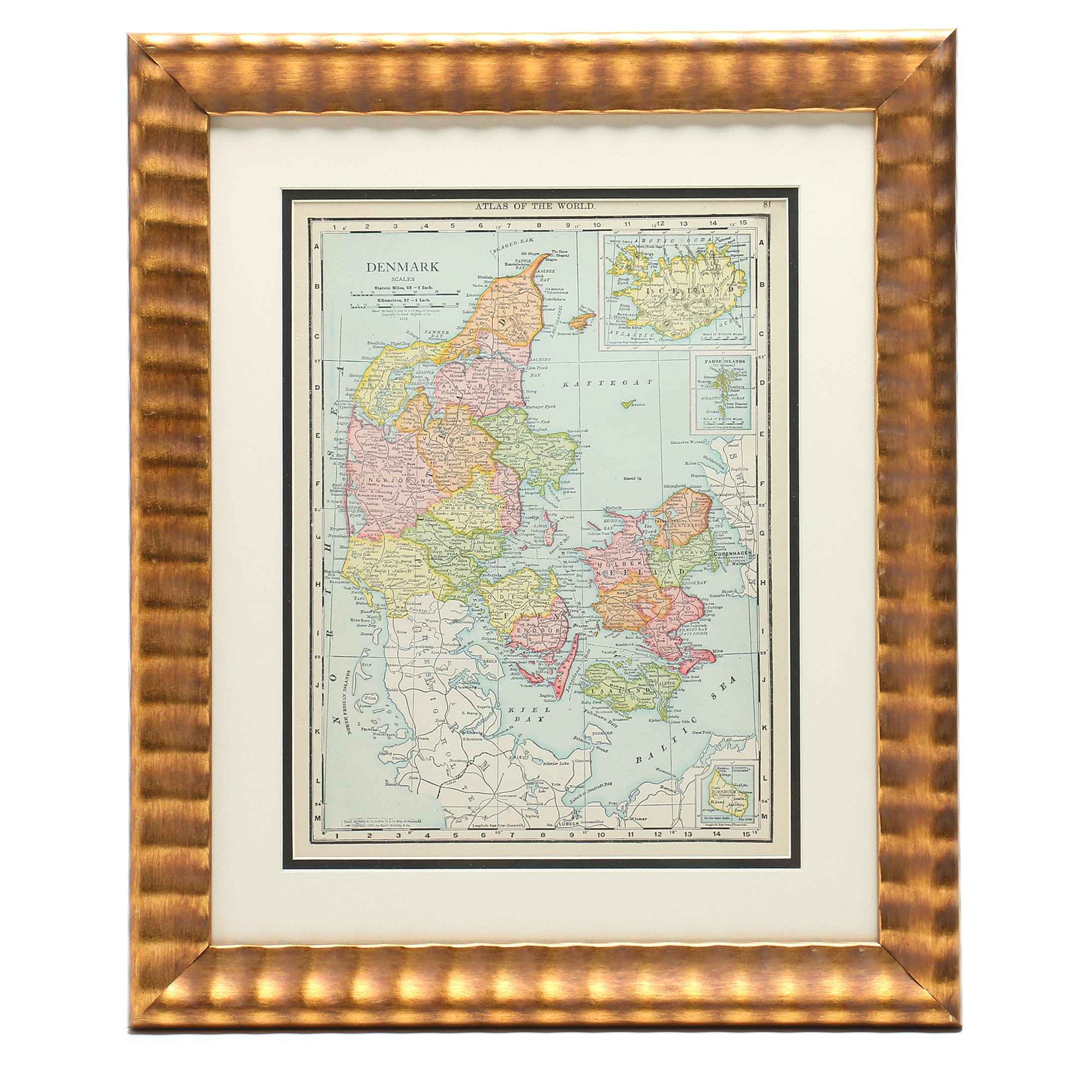 Original 1895 Wood Engraving Map of Denmark from Rand, McNally & Co.