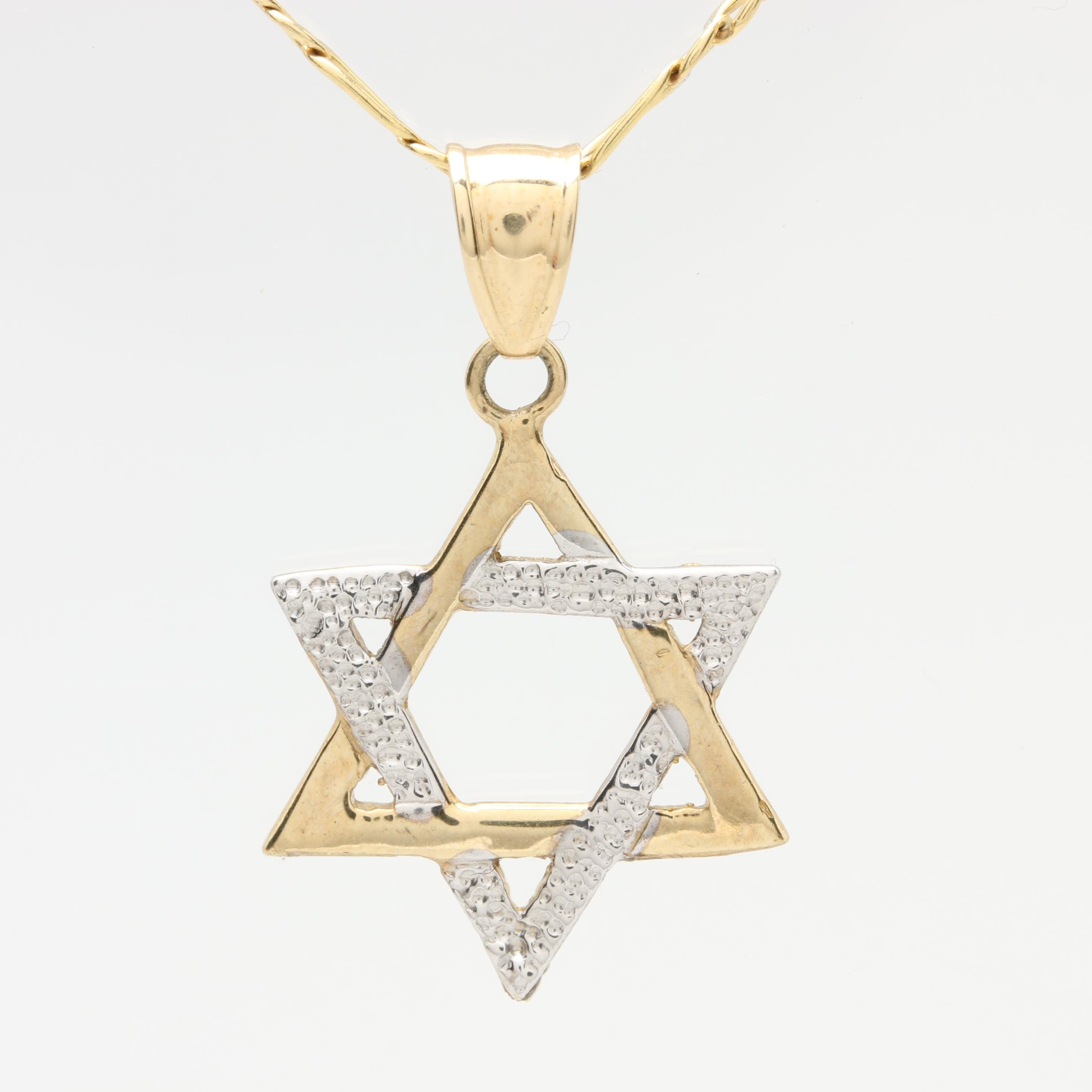 10K Yellow Gold Star of David Necklace with White Gold Accents