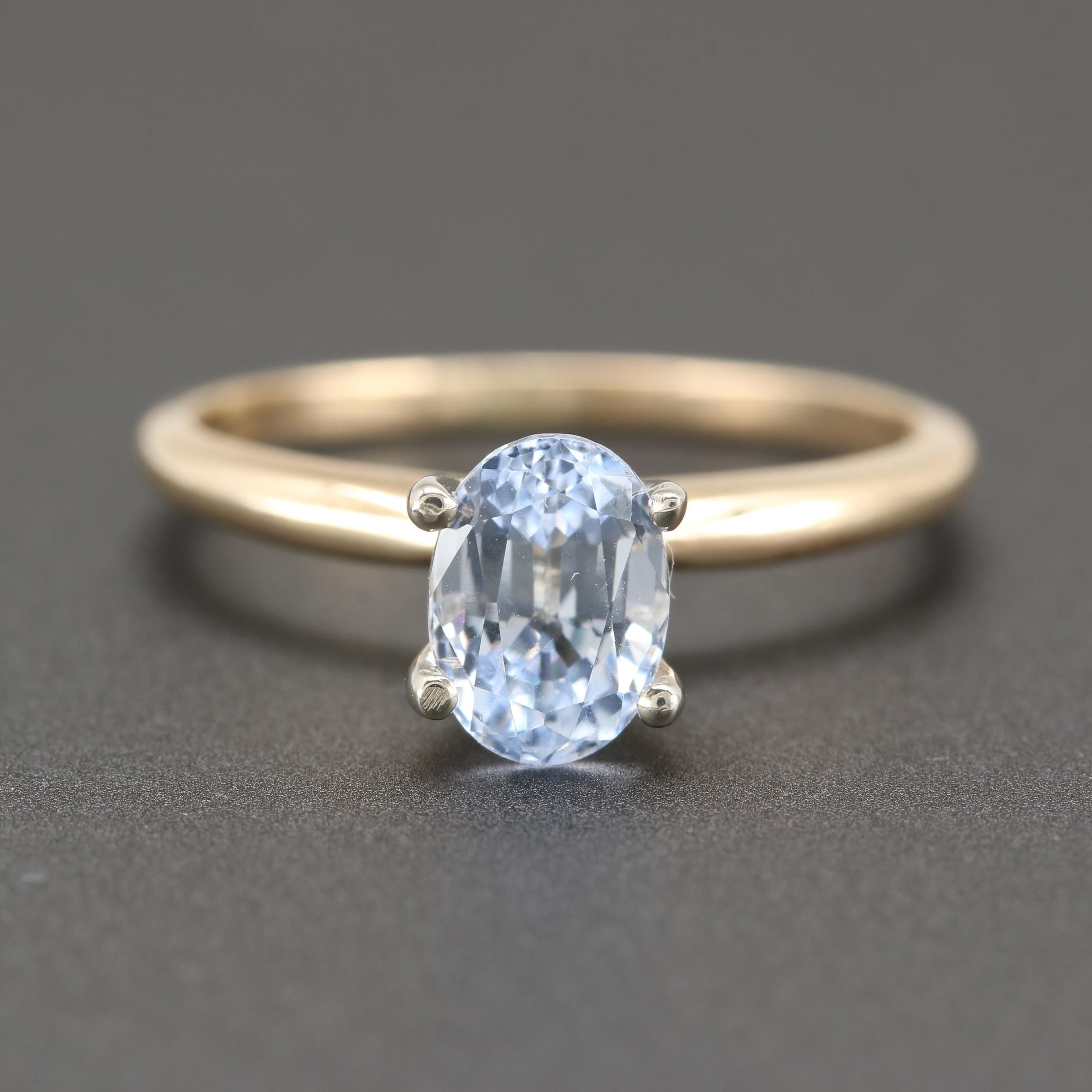 14K Yellow Gold 1.19 CT Sapphire Solitaire Ring