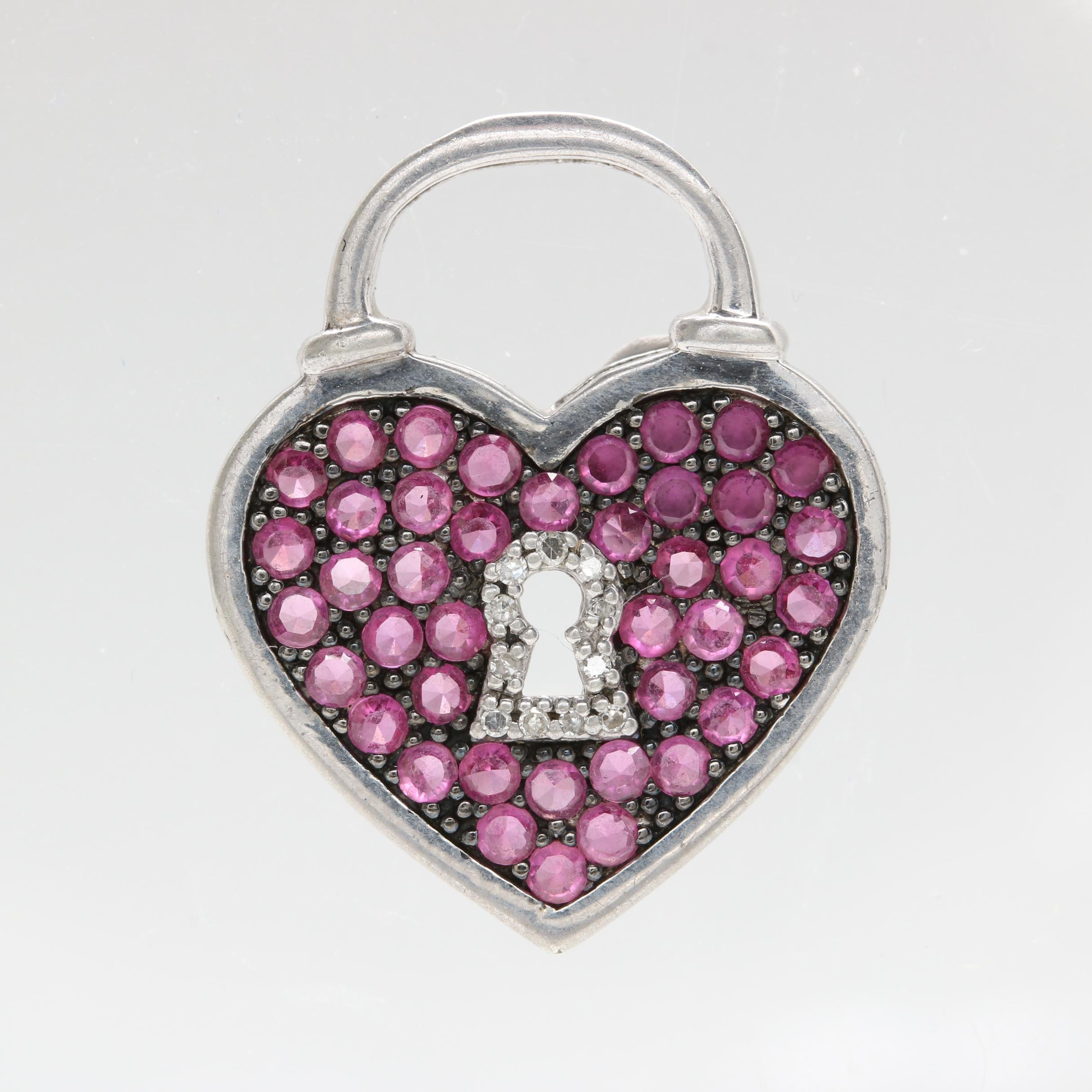 Sterling Silver Synthetic Ruby and Diamond Heart Lock Pendant