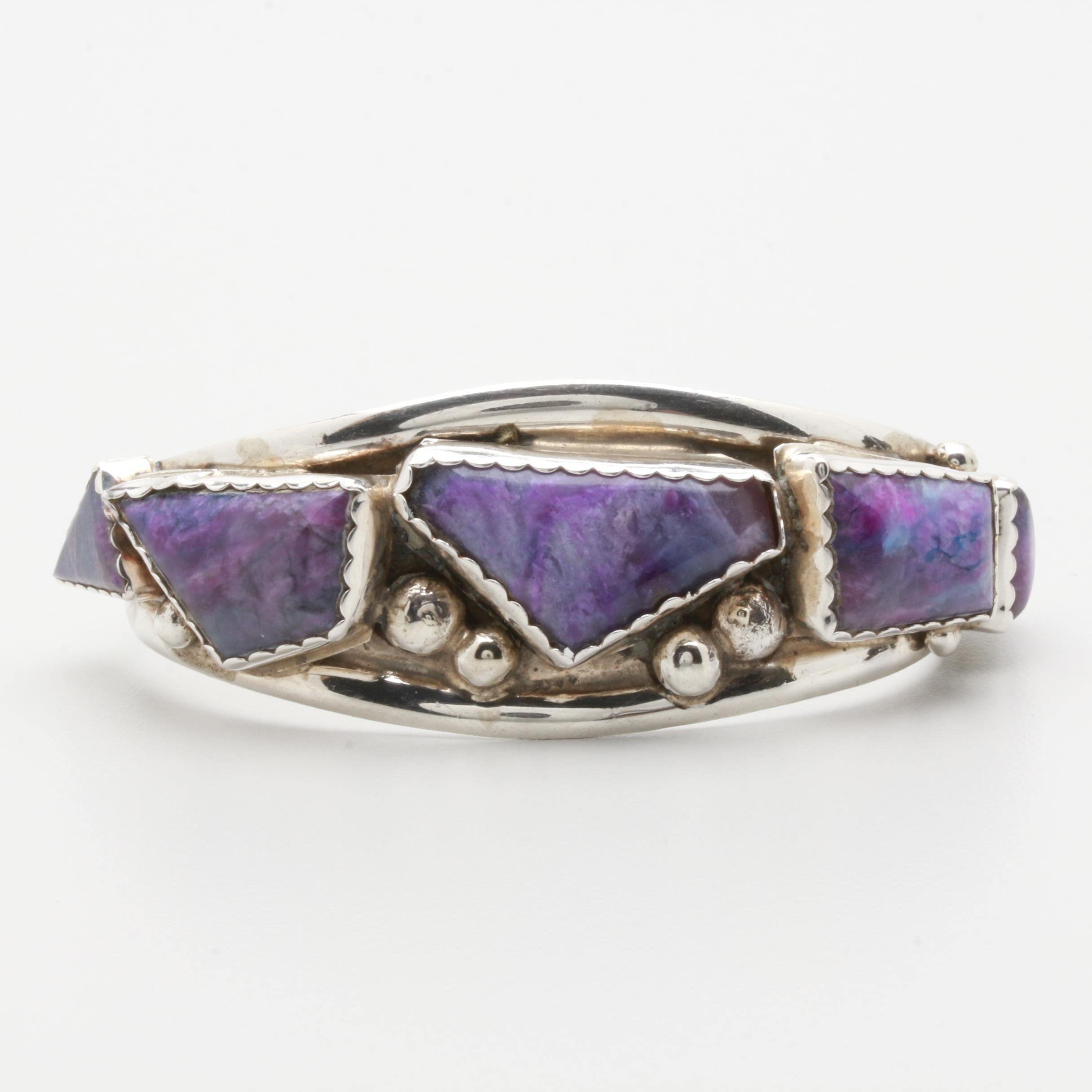 Eric & C. Fierro Navajo Diné Sterling Silver Sugilite in Quartz Cuff Bangle