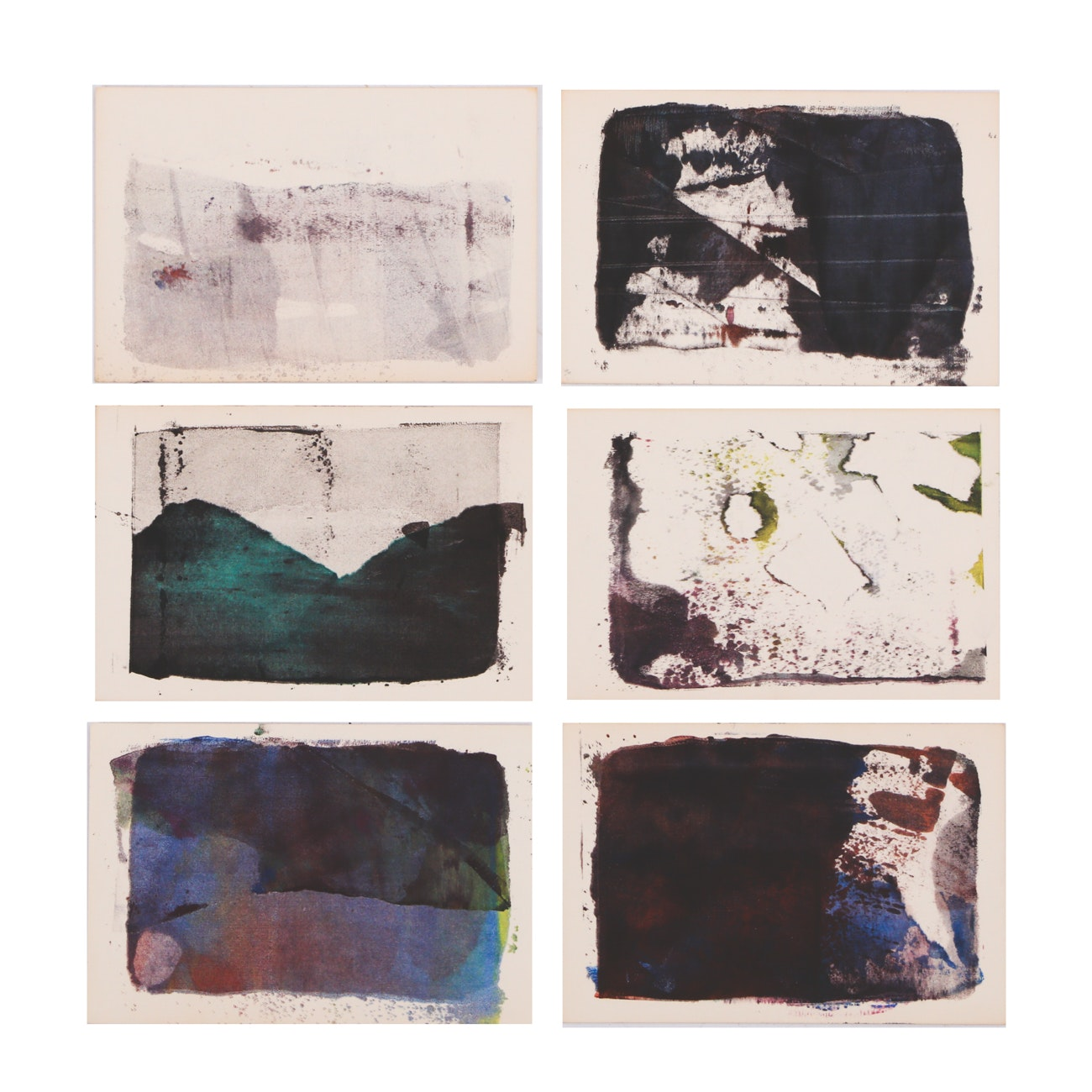 Six Paul Chidlaw Original Abstract Block Relief Prints