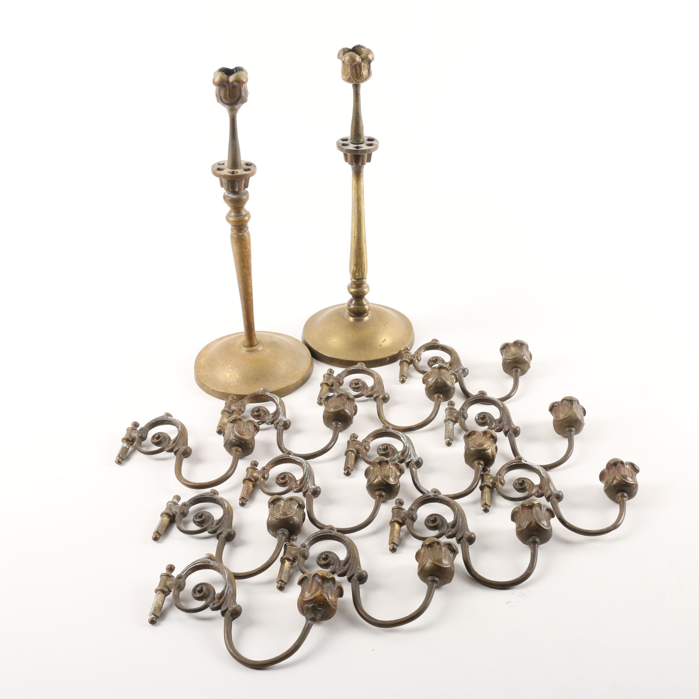 Vintage Brass Candle Holders with Adjustable Arms