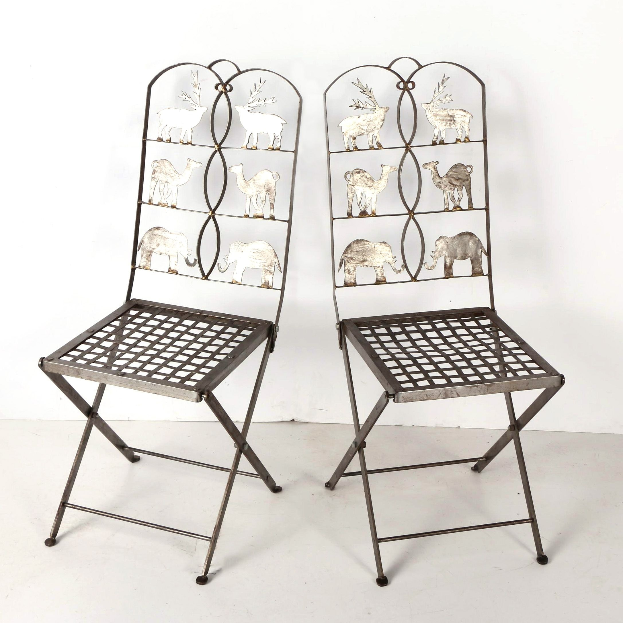 Folding Metal Chairs with Animal Motifs