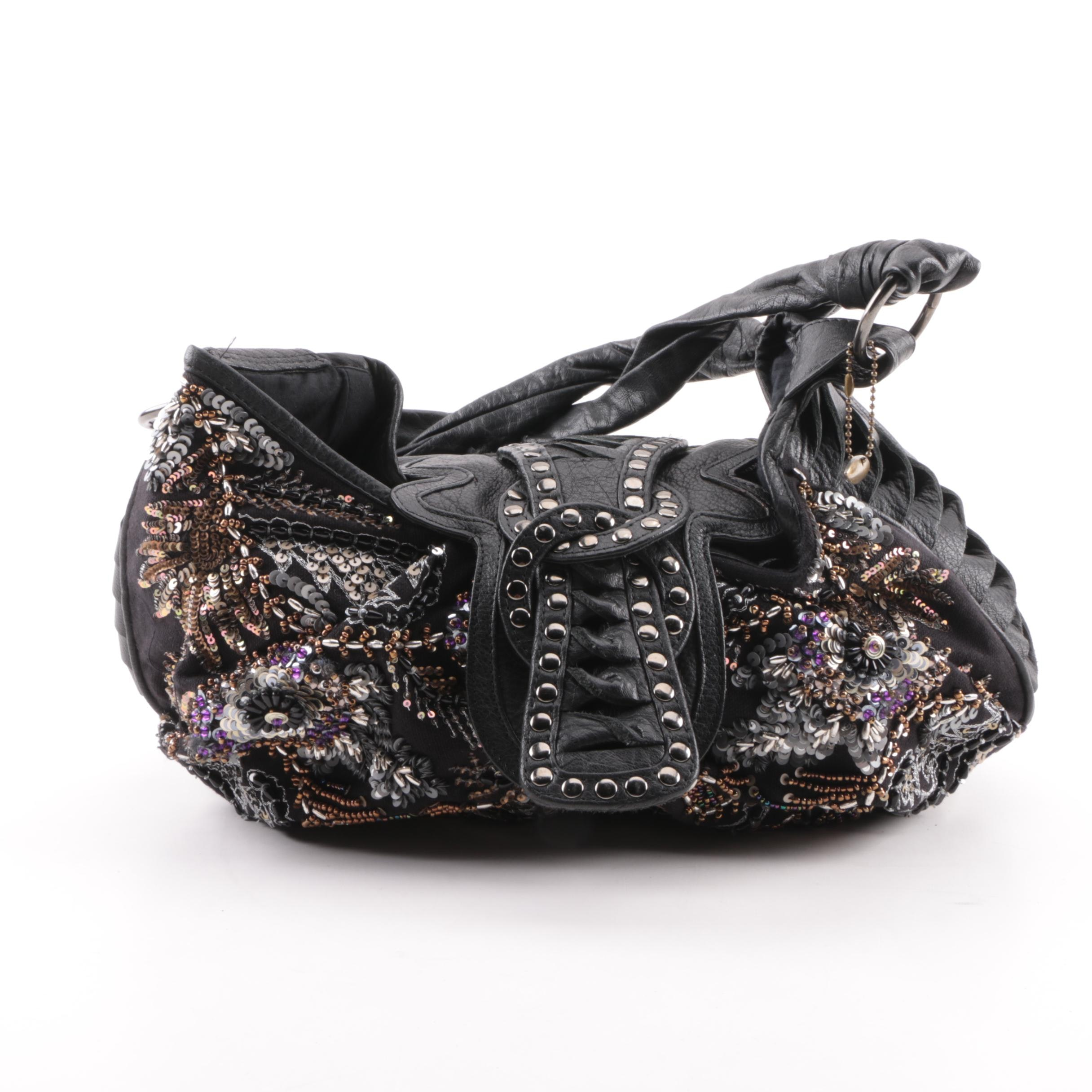 Mary Frances of San Francisco Embellished Black Leather Hobo Bag