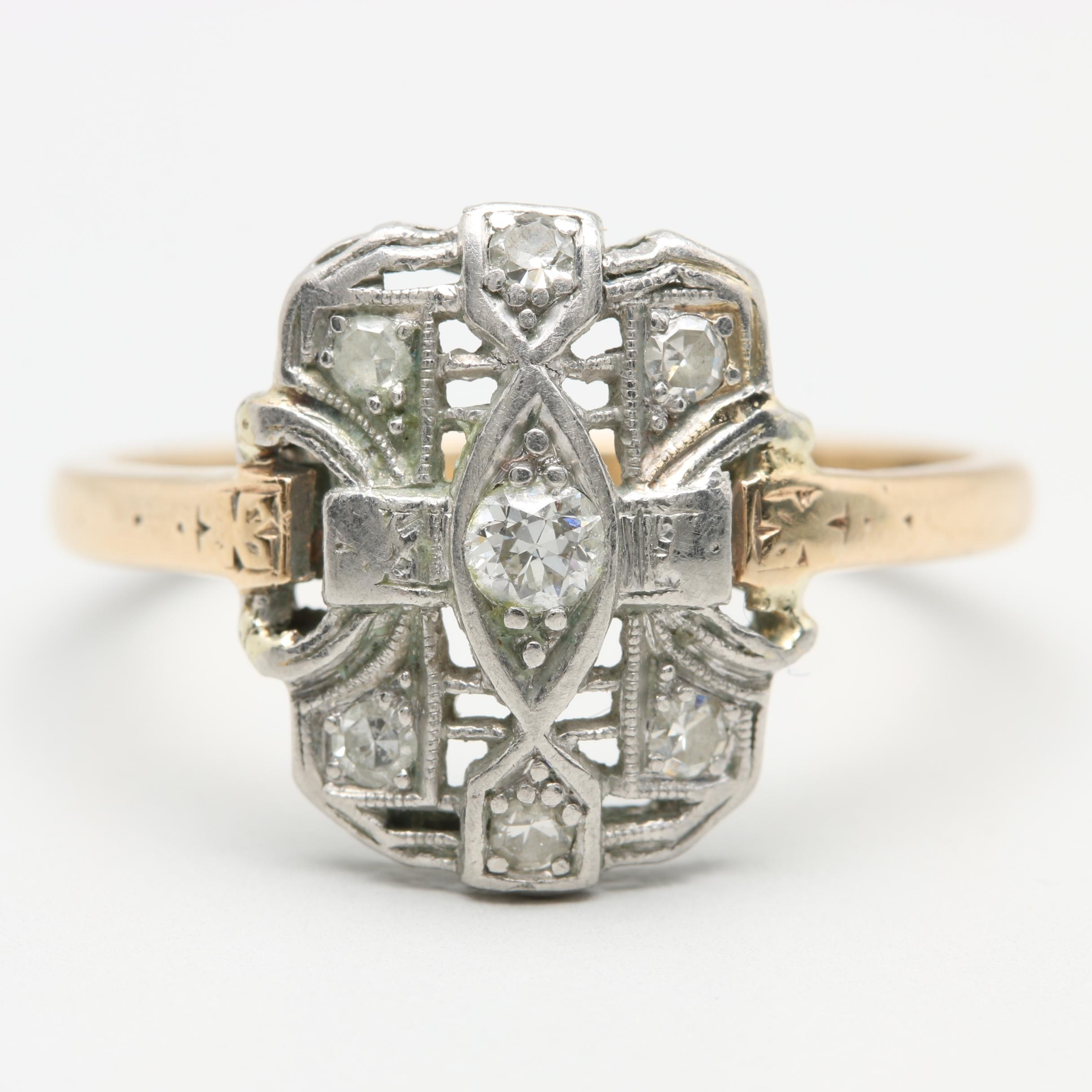 Platinum and 14K Yellow Gold Diamond Ring