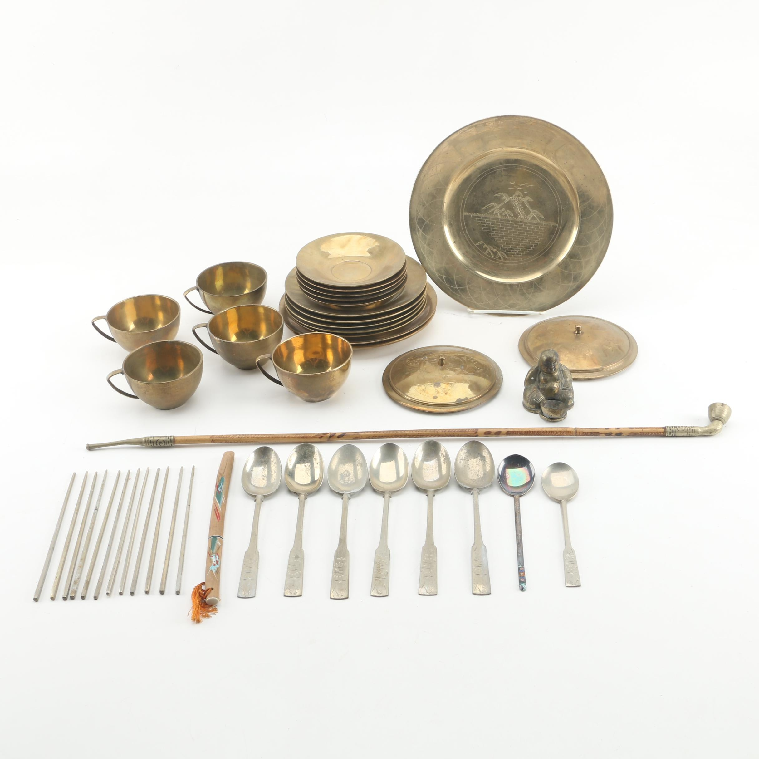 East Asian Brass Cups, Saucers, Spoons, Chopsticks, Budai Figurine, and More