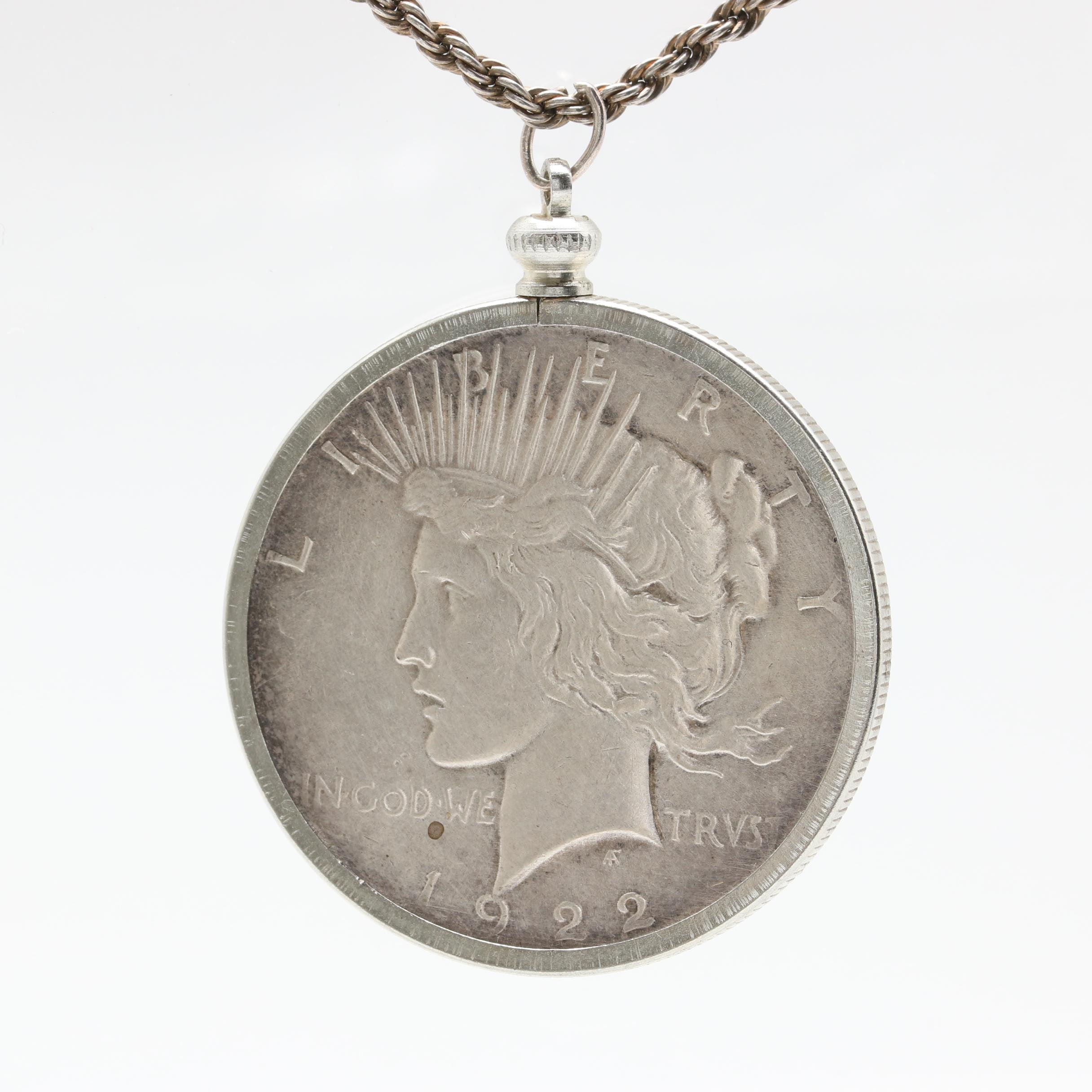 Sterling Silver Necklace with 1922 Peace Silver Dollar Pendant