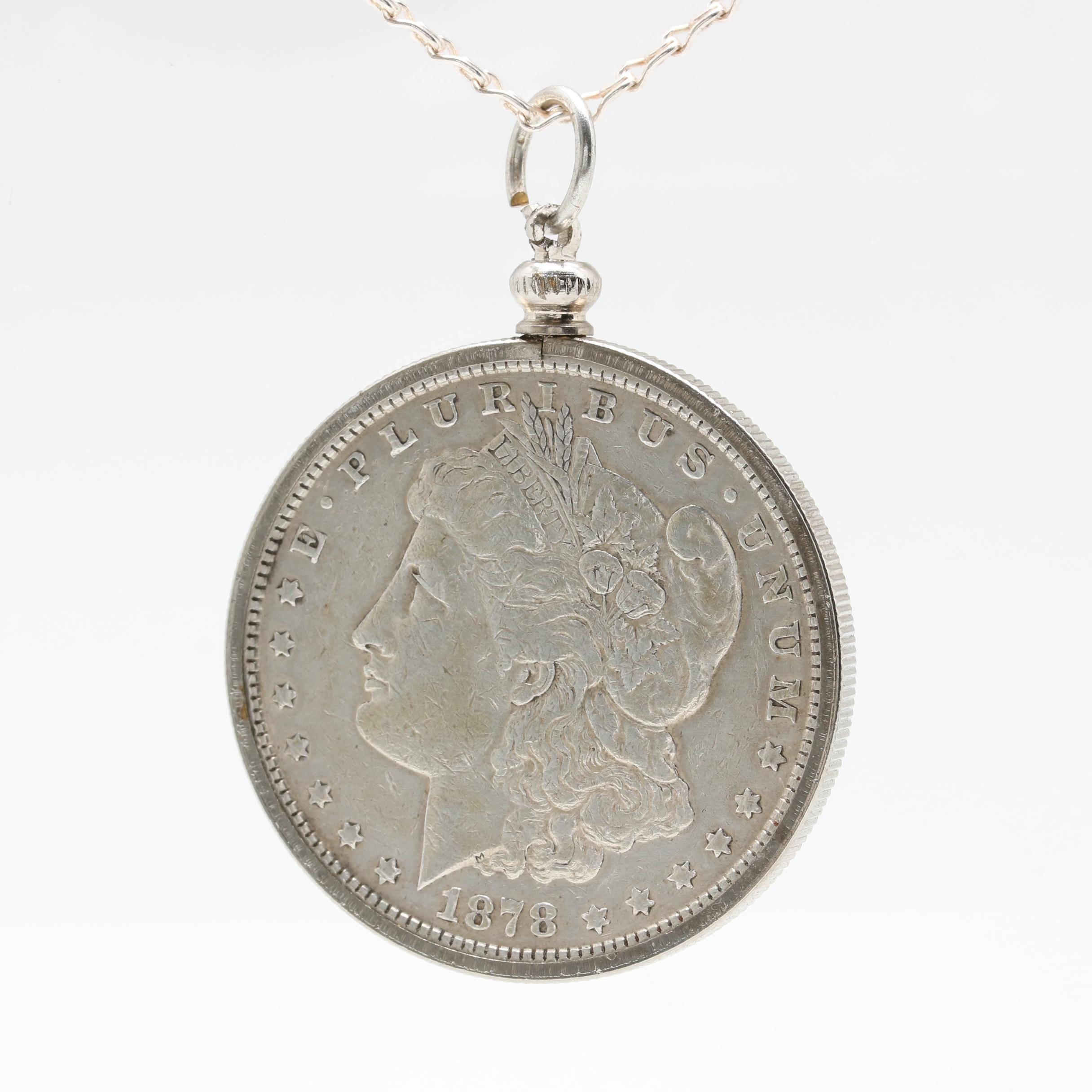 Sterling Silver Necklace with 1878 Morgan Silver Dollar Pendant