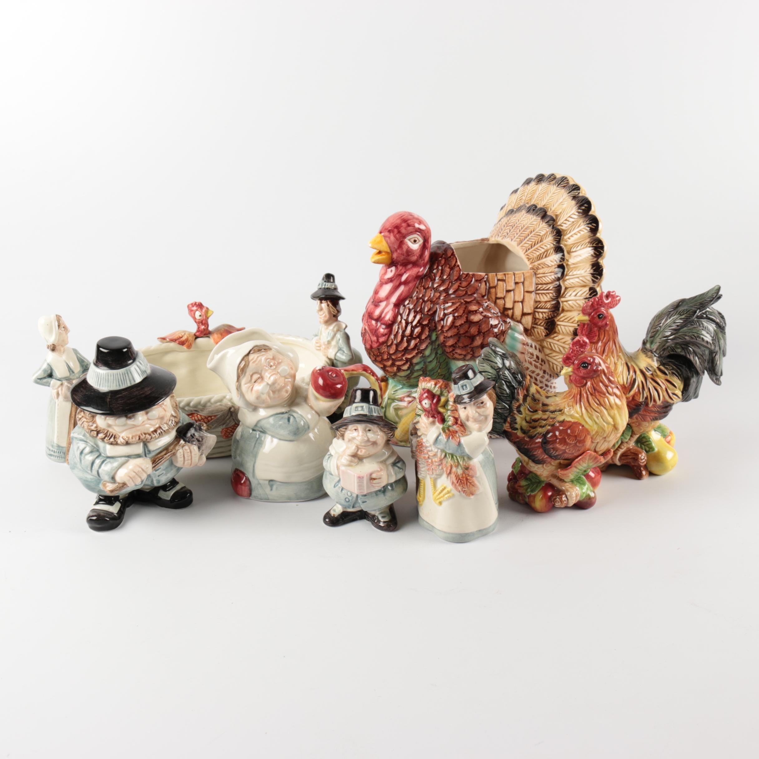 Fitz and Floyd Thanksgiving Themed Ceramic Serveware