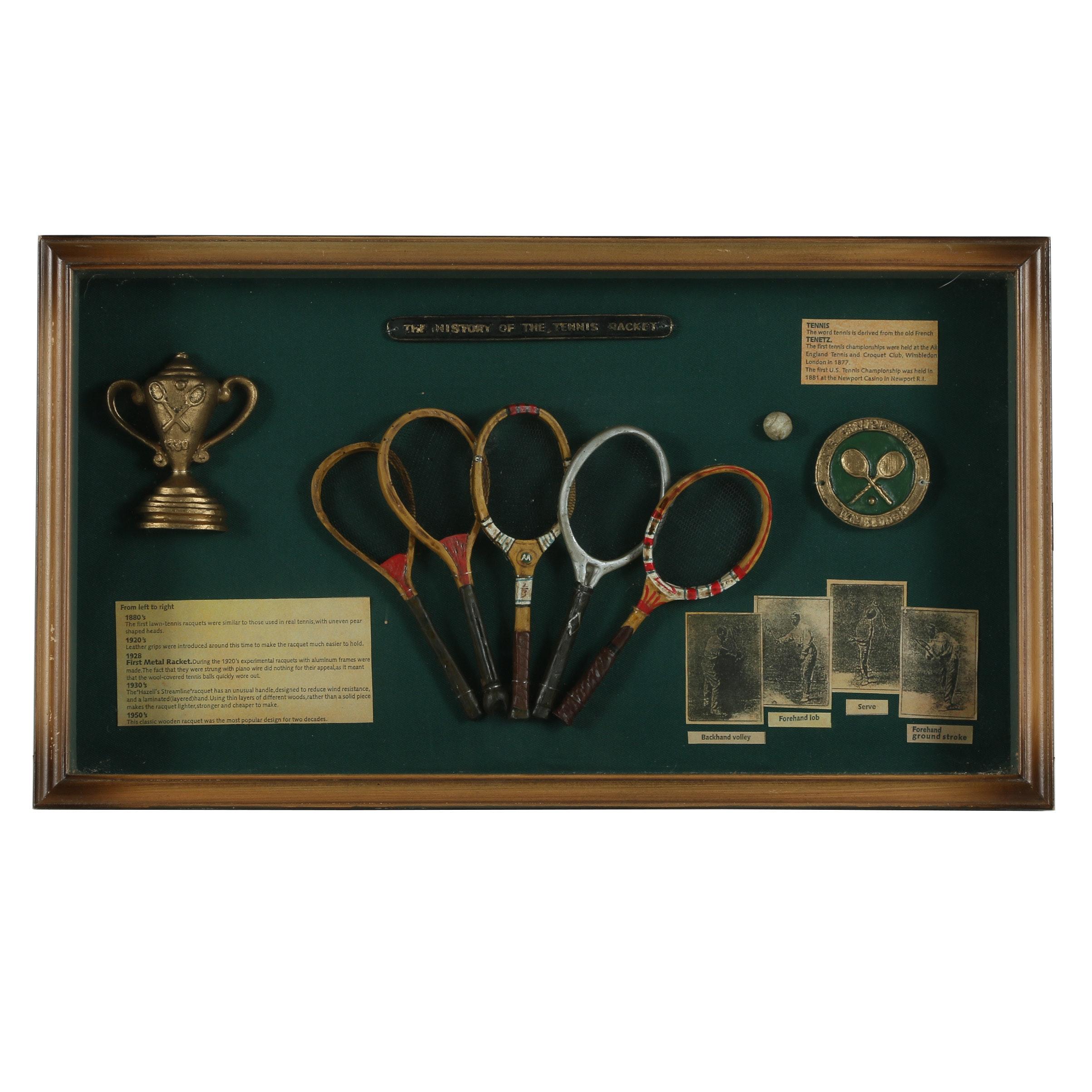 "Shadowbox Display ""History of the Tennis Racket"""
