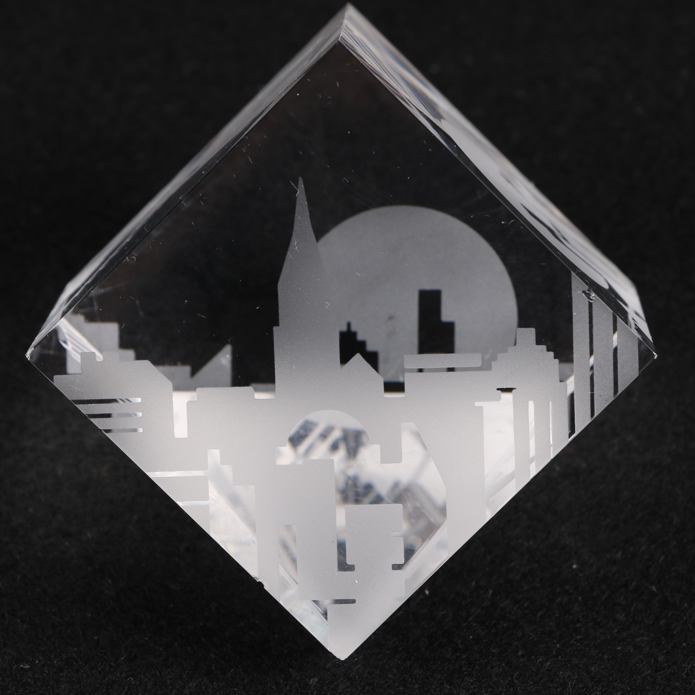 Steuben Glass New York City Skyline Paperweight