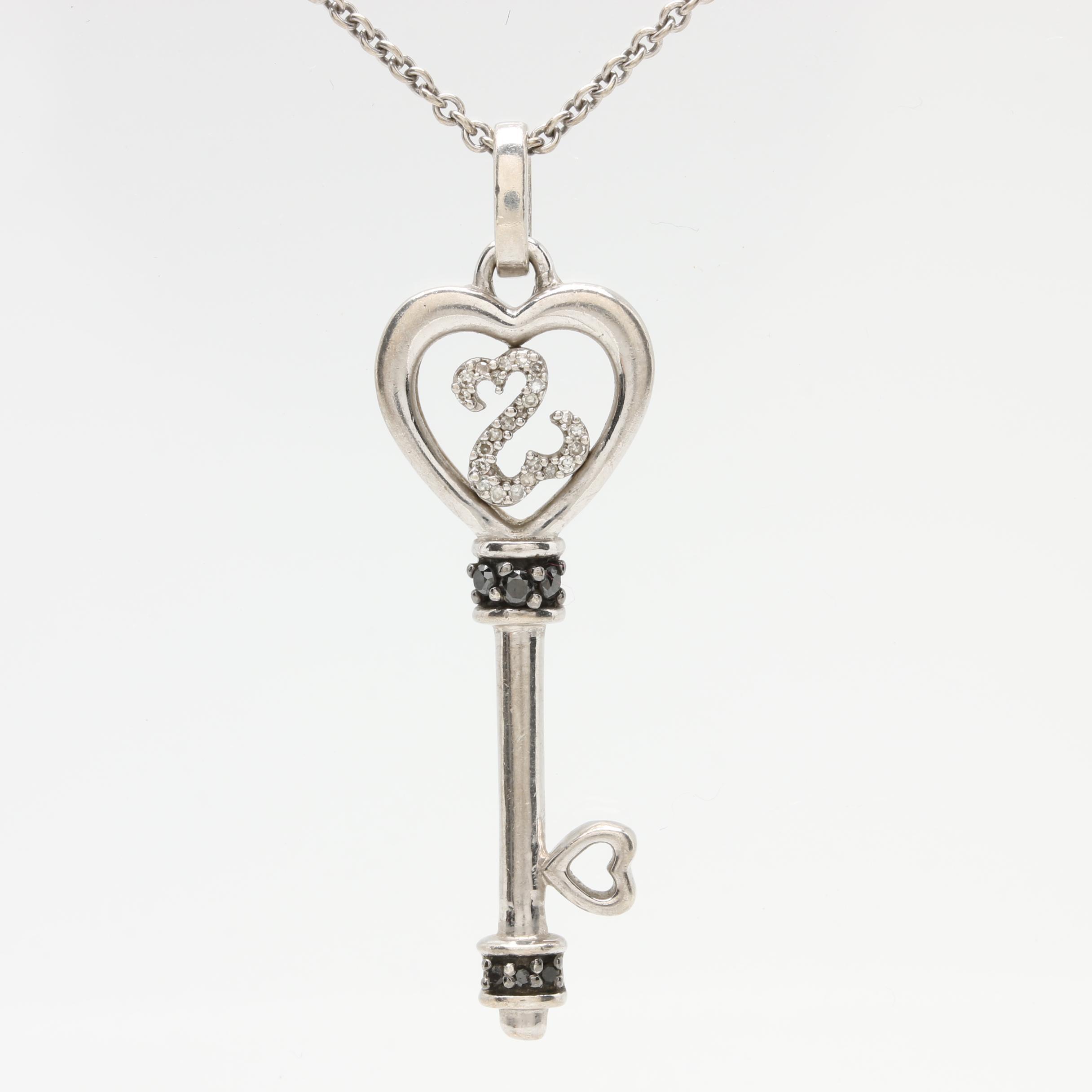"Jane Seymour ""Open Heart Collection"" Sterling Silver Diamond Heart Key Necklace"