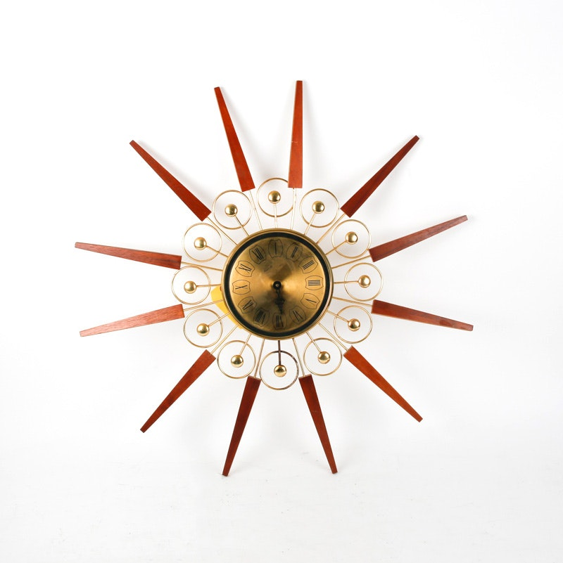 Mid-Century Wood and Metal Atomic Clock