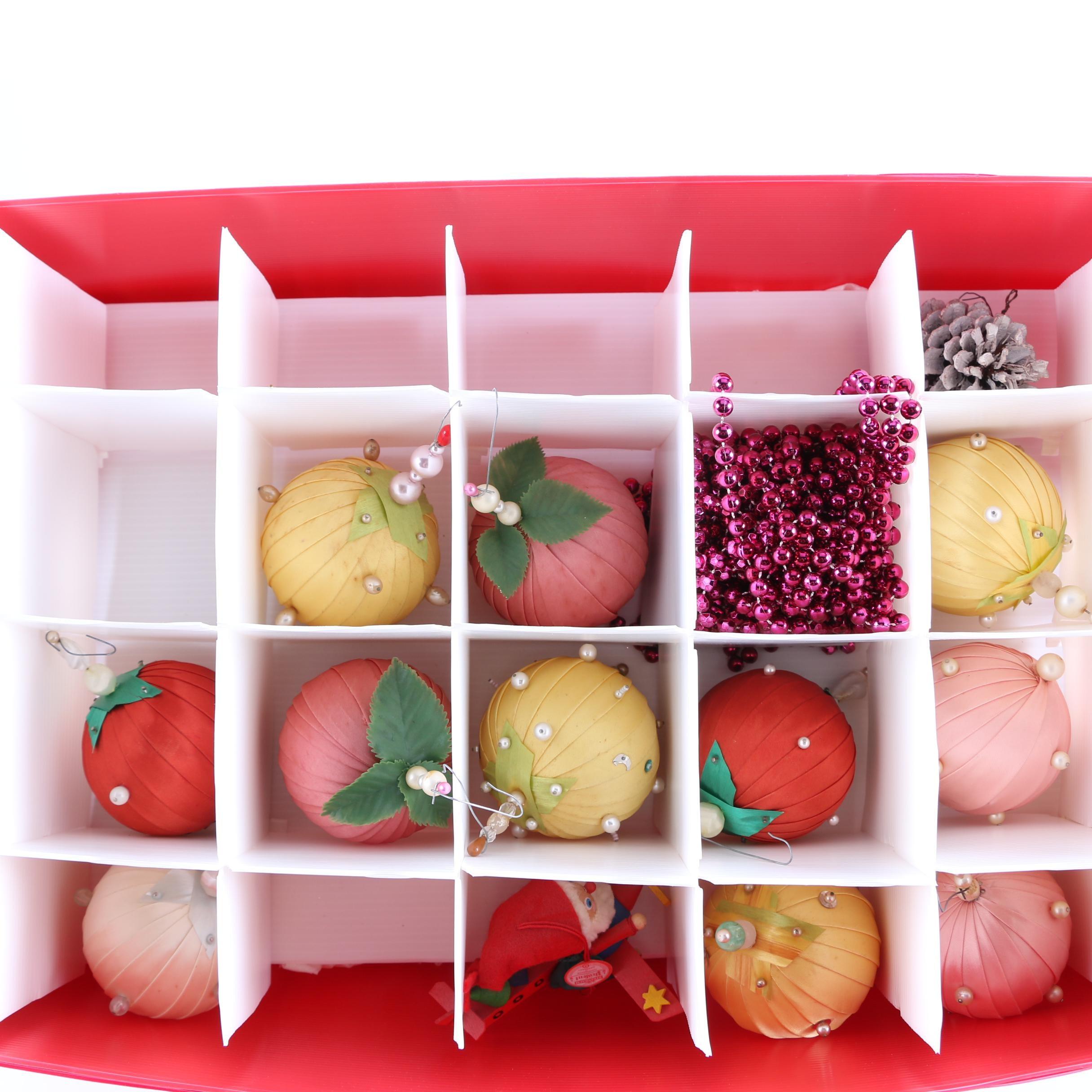 Vintage Handmade Christmas Ornaments in Segmented Storage Case