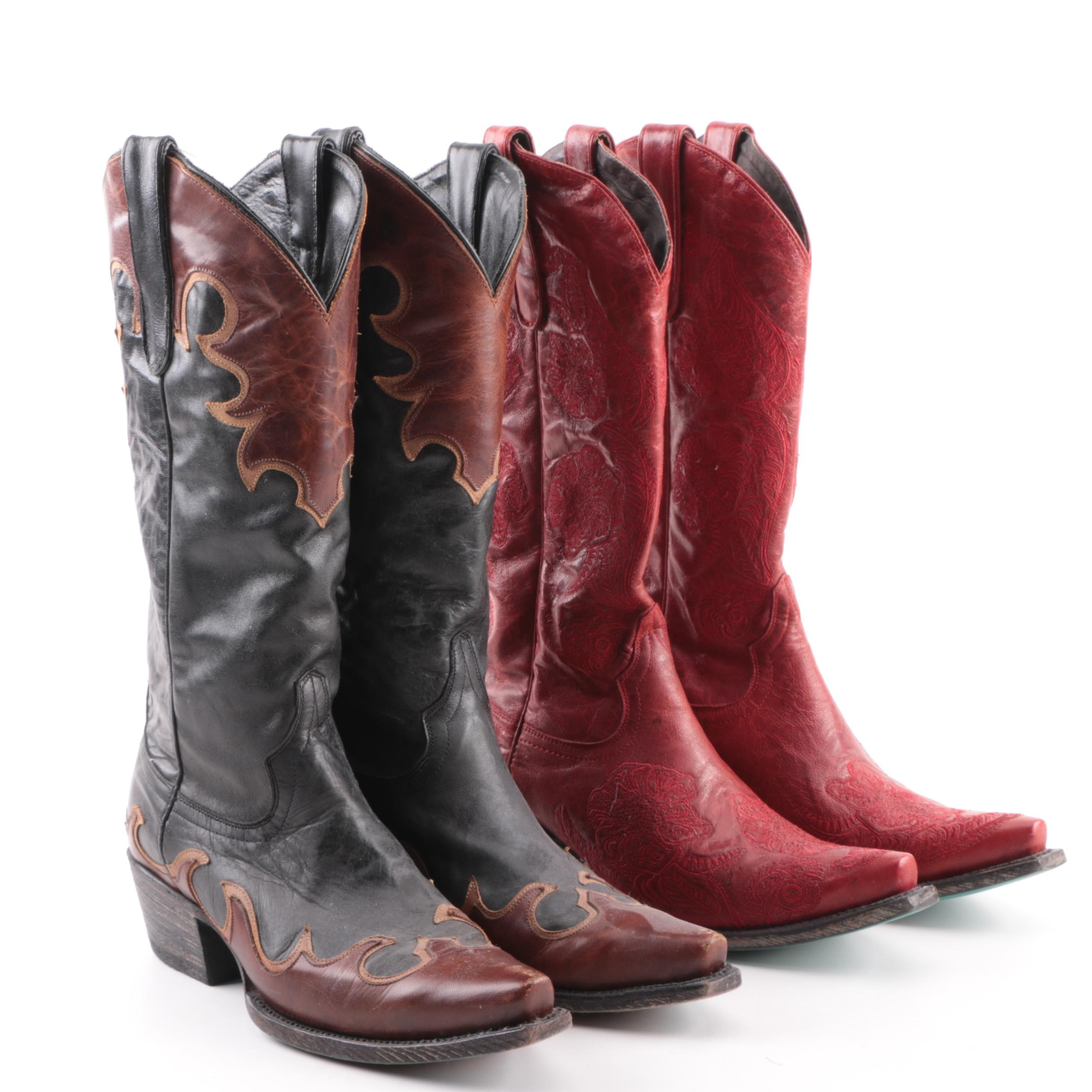 Women's Lane Black and Red Leather Cowboy Boots