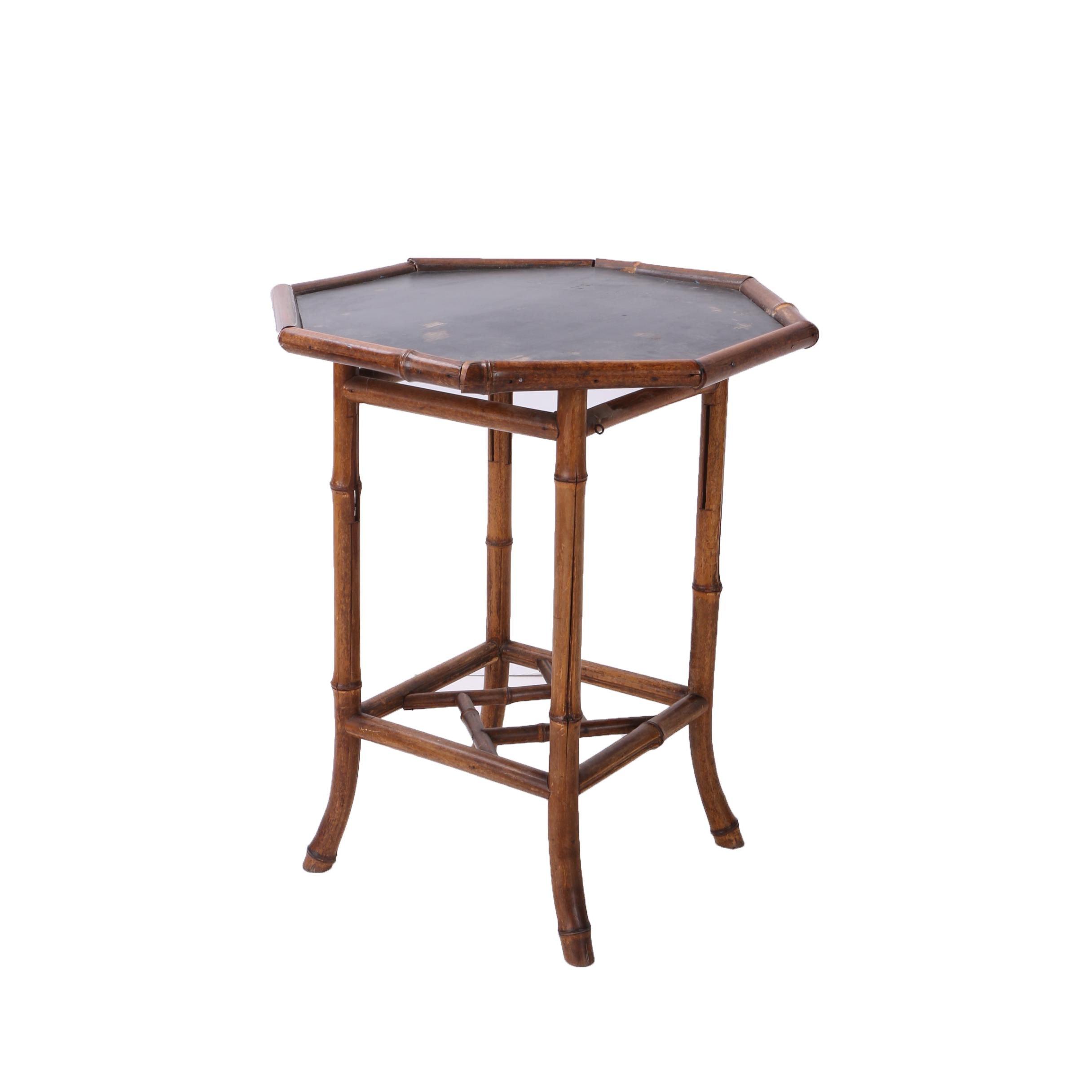 19th Century English Brighton Bamboo Accent Table