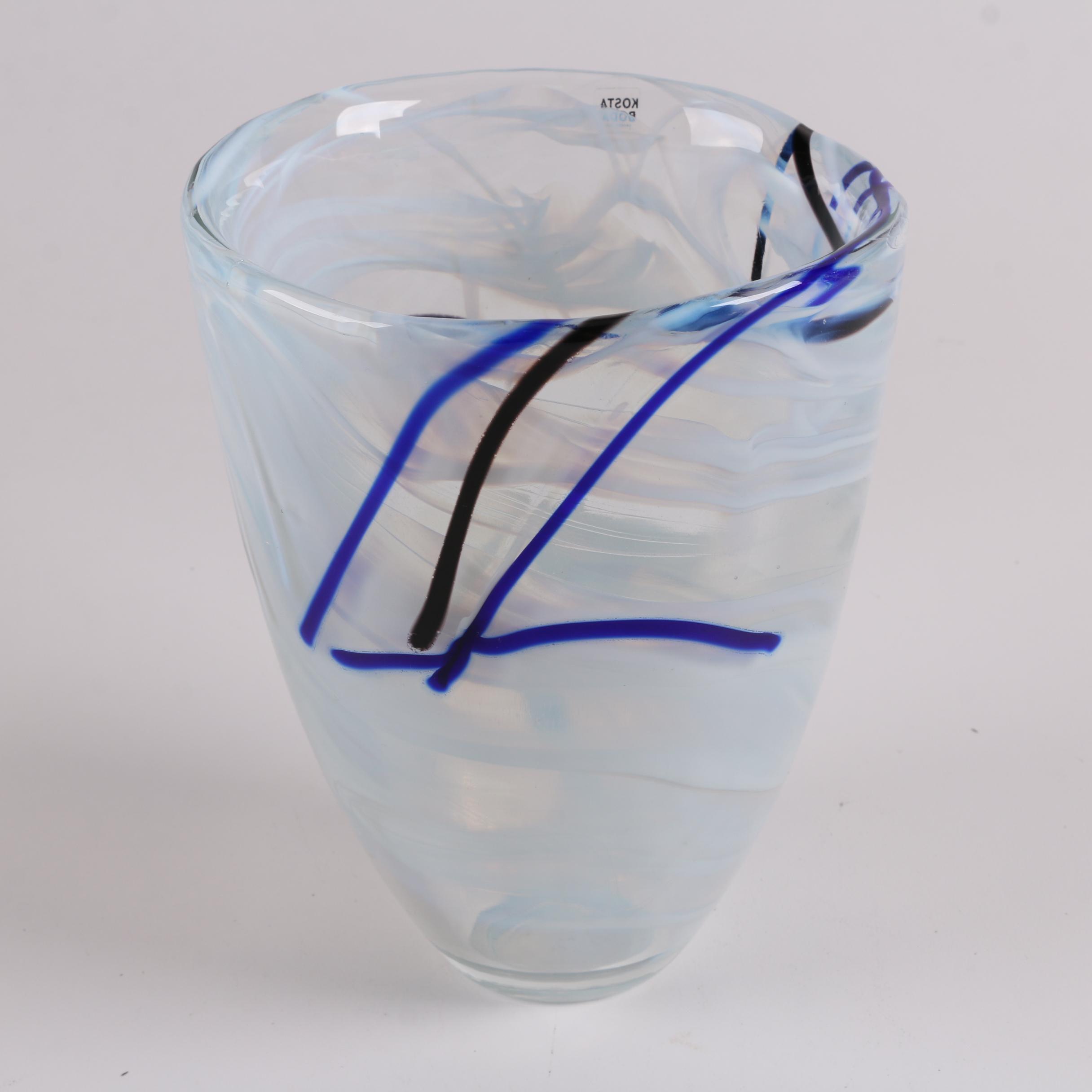 Kosta Boda Blown Art Glass Vase featuring Blue, White and Black Ribbon Design