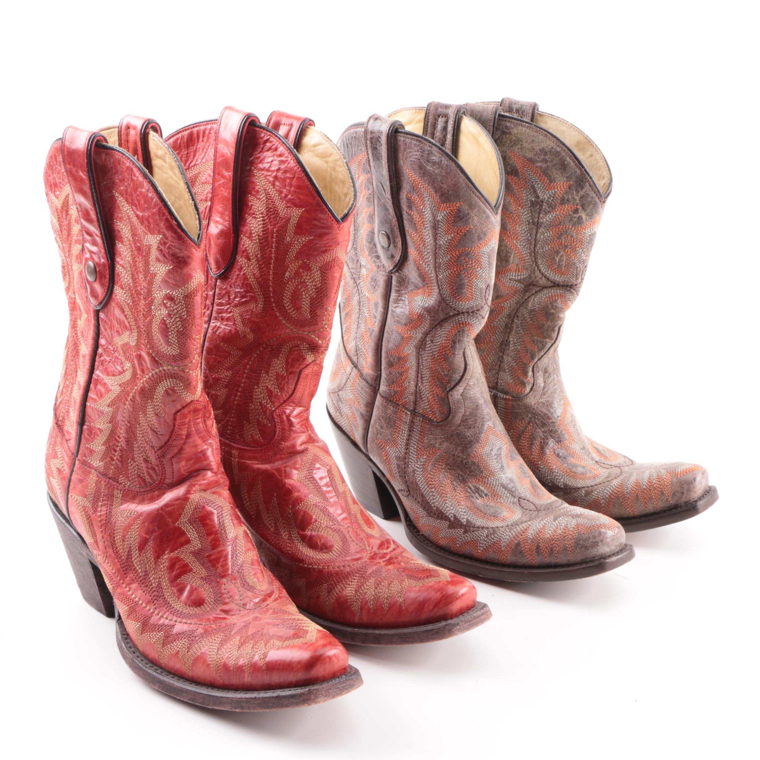 Women's Corral Red and Brown Leather Western Boots