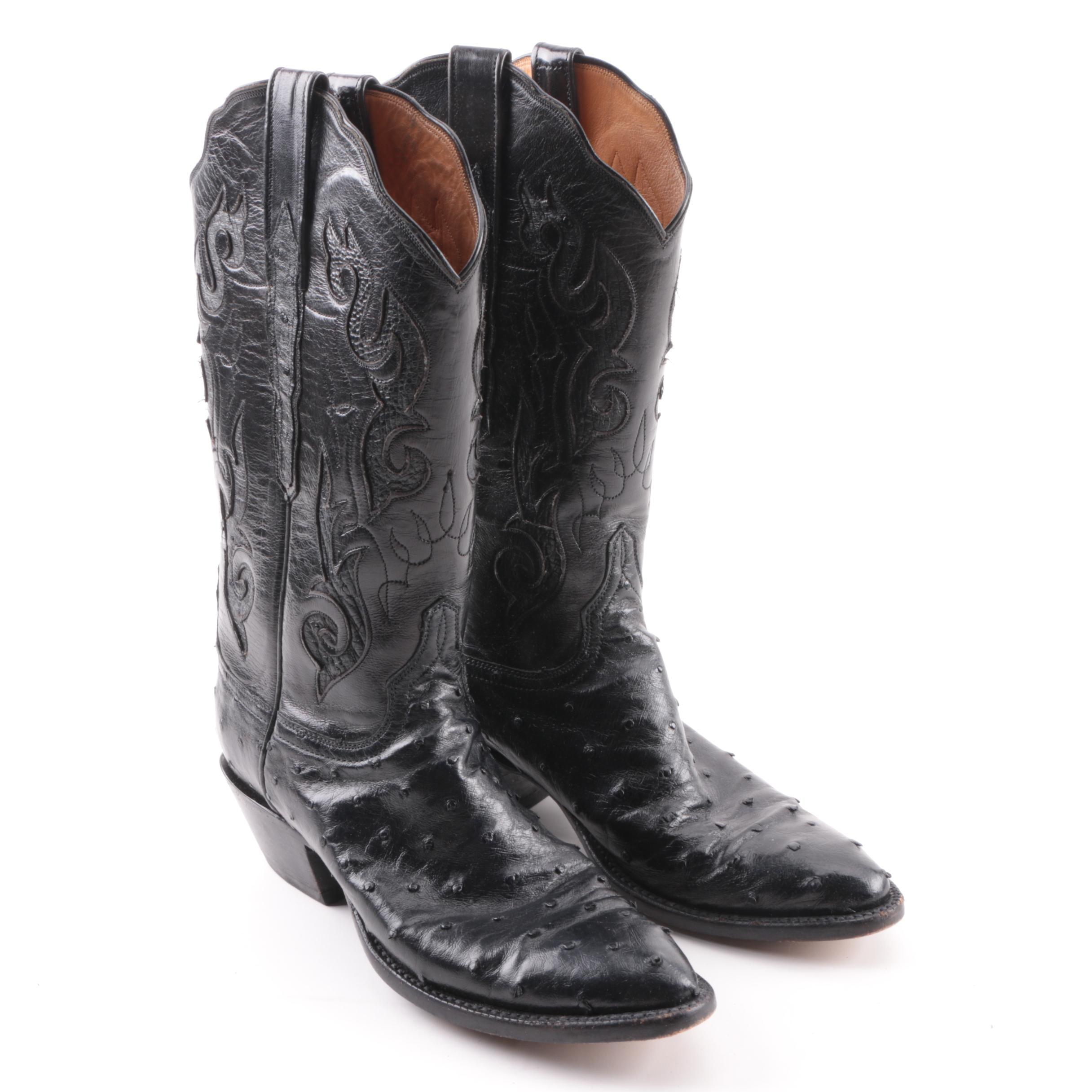 Women's Lucchese Classics Black Leather and Ostrich Skin Western Boots