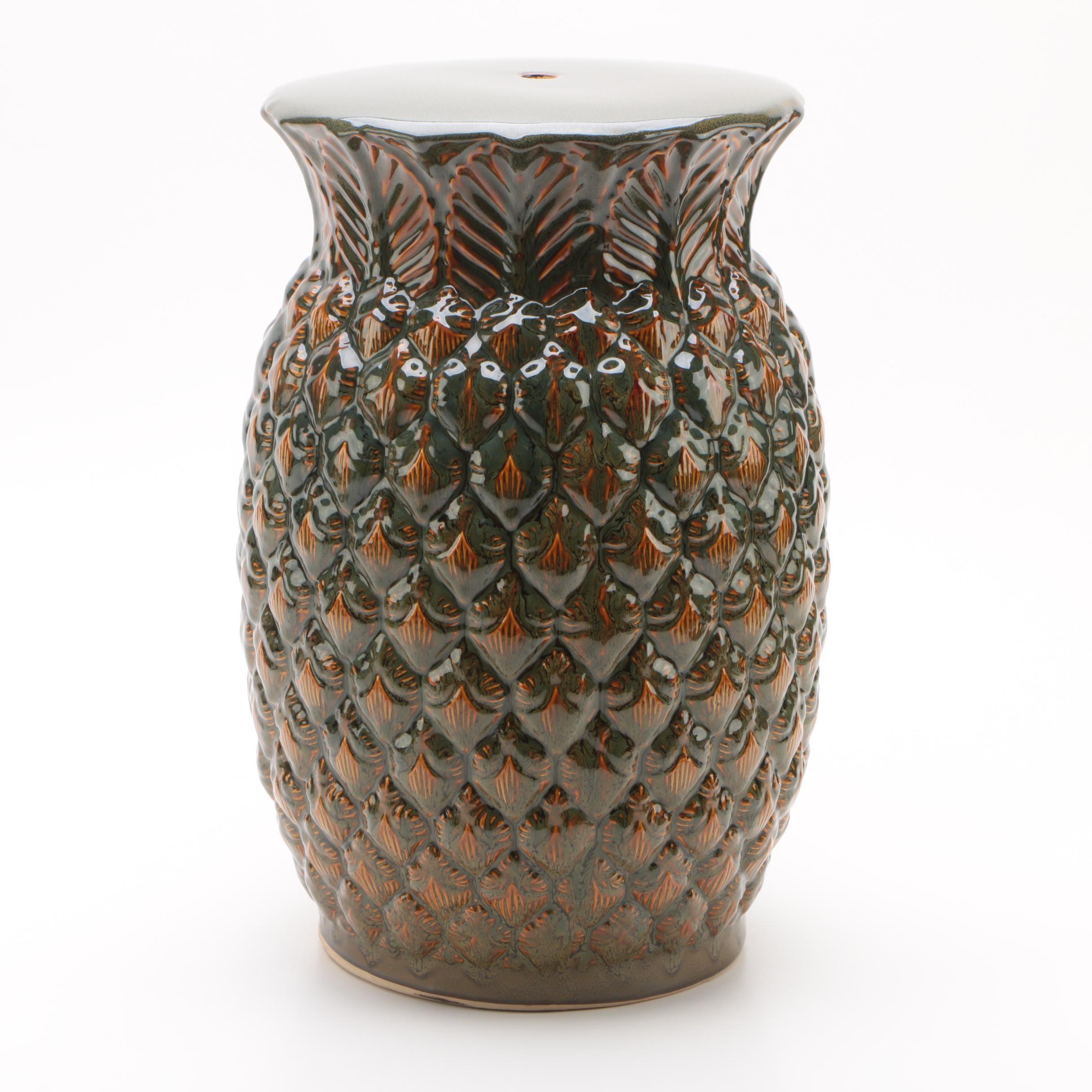 Large Ceramic Pineapple Garden Stool