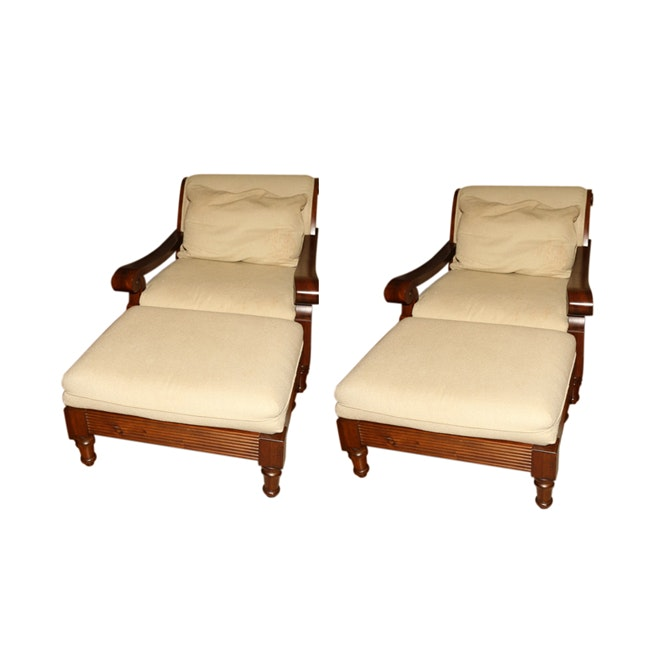 Crate & Barrel Lounge Chairs with Ottomans