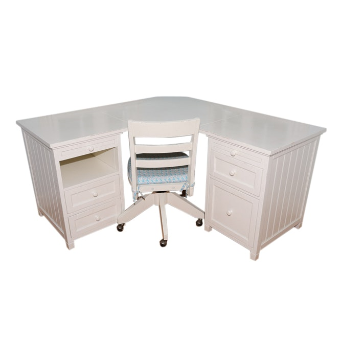 Pottery Barn Teen White Painted Corner Desk and Office Chair