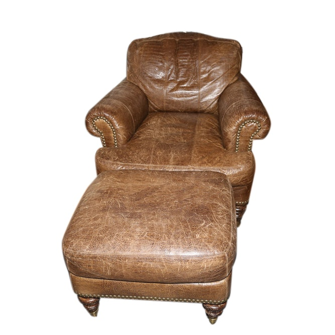 Brown Leather Armchair and Ottoman by Lillian August