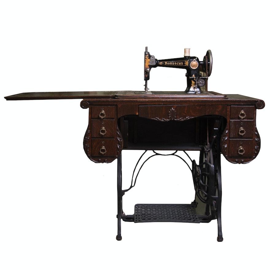 Antique Damascus Tredle Sewing Machine And Oak Cabinet EBTH Stunning Damascus Sewing Machine