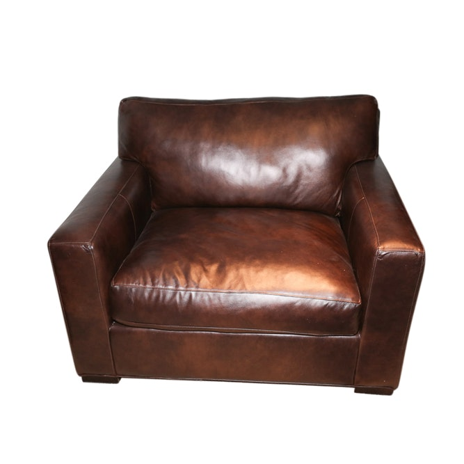 Crate & Barrel Brown Leather Armchair