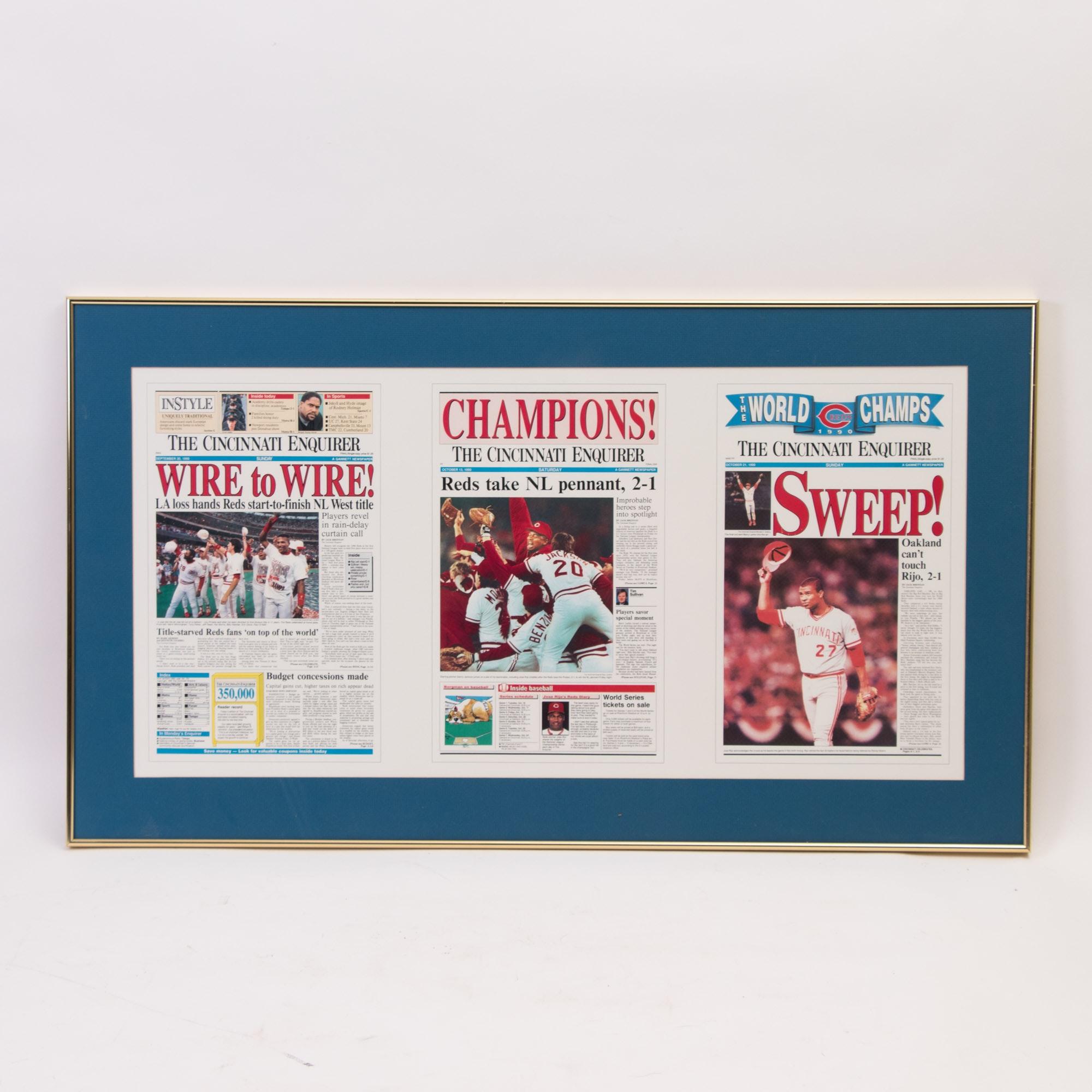 "1990s  ""Cincinnati Enquirer"" Cincinnati Reds Championship Poster"