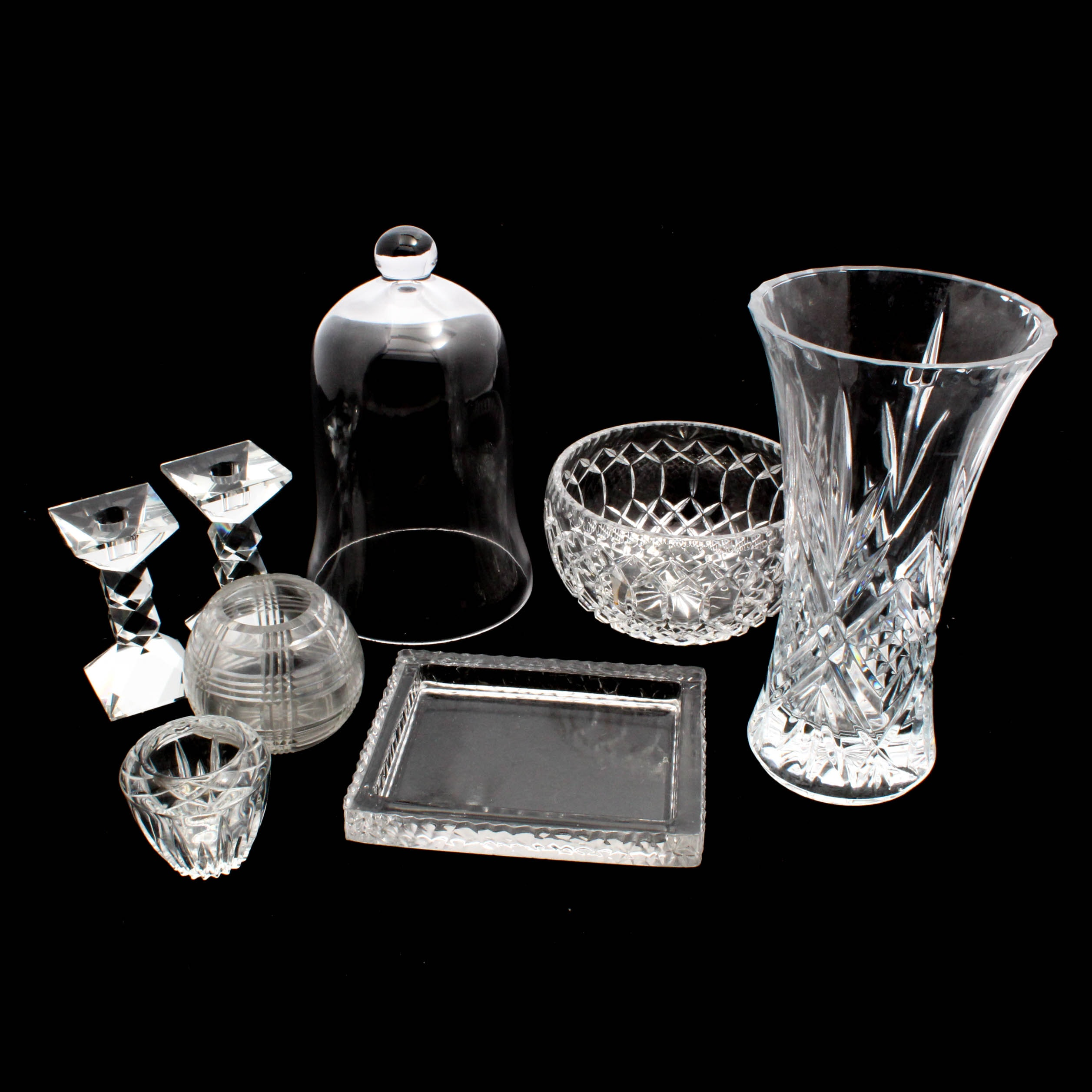 Oleg Cassini Candlesticks with Assorted Glass and Crystal Tableware