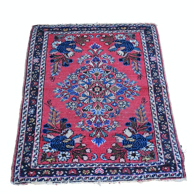 Vintage Hand-Knotted Sarouk Style Wool Accent Rug
