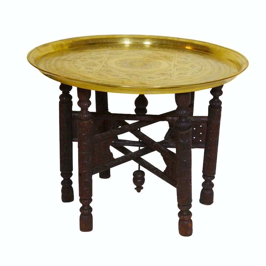 Antique Anglo Indian Style Brass Tray Table on Folding Stand