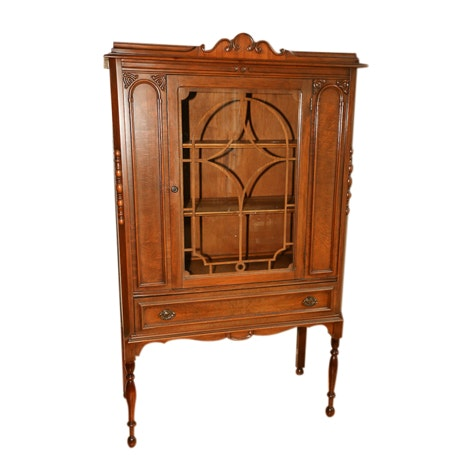 Jacobean Revival Walnut China Cabinet